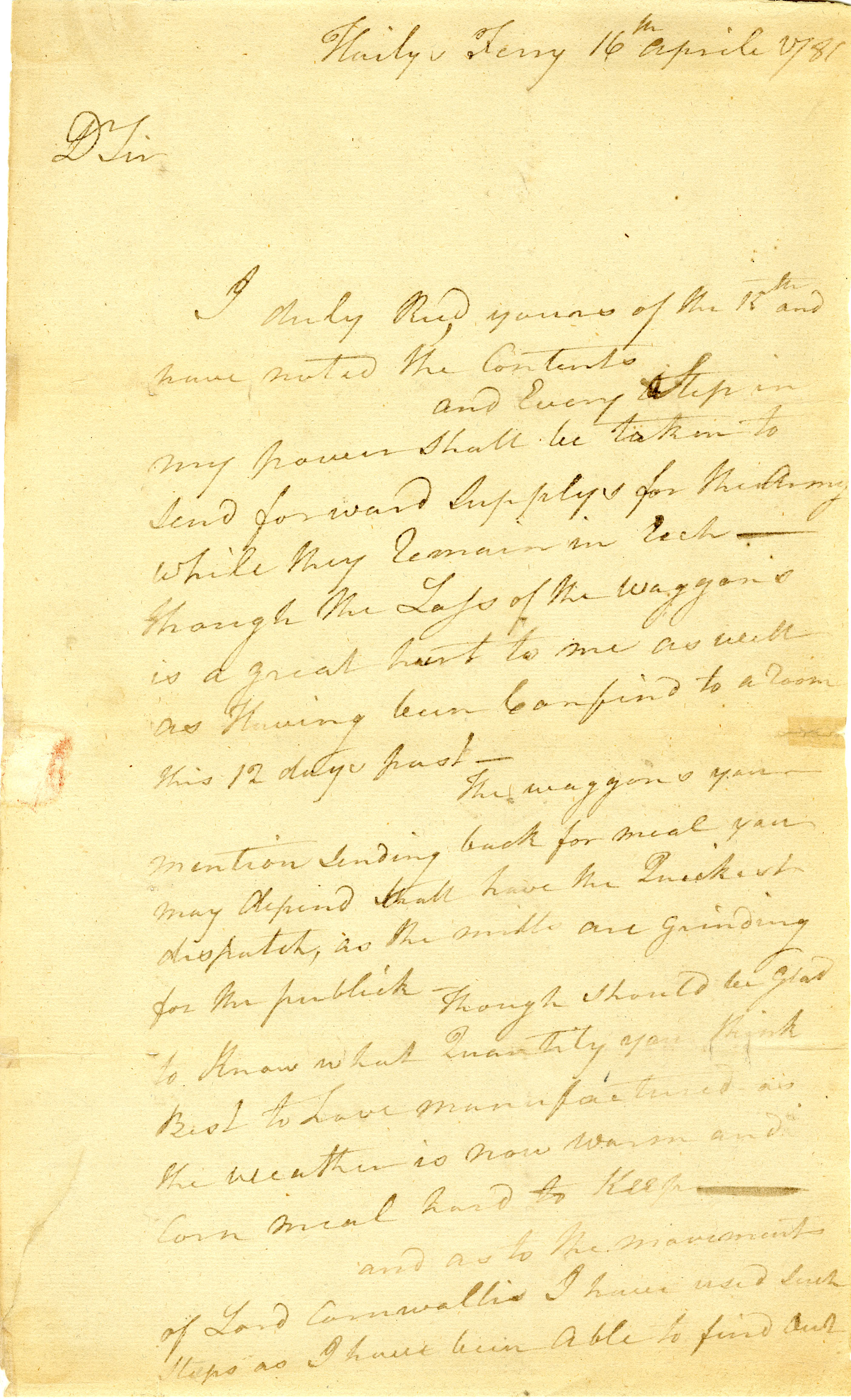 Letter from Thomas Wade to Nathanael Greene