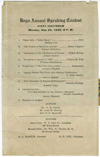Program for the Boys Annual Speaking Contest