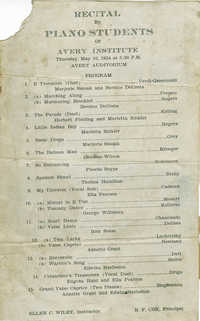 Program for a recital by piano students