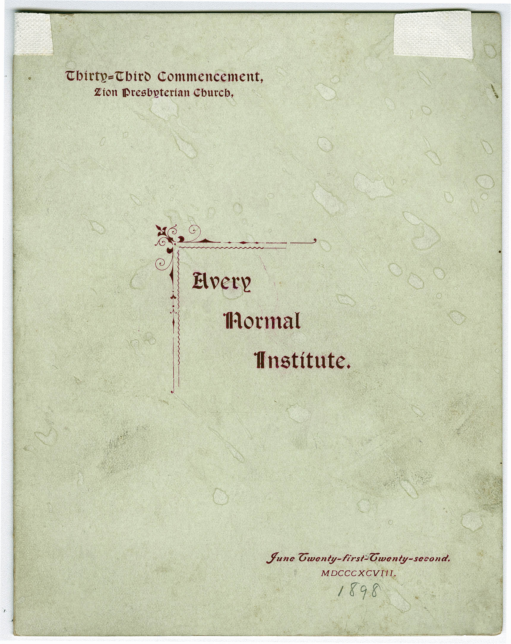 Avery Normal Institute Commencement Program for Zion Presbyterian Church Ceremony