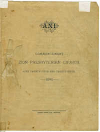 Commencement Program for Zion Presbyterian Church Ceremony