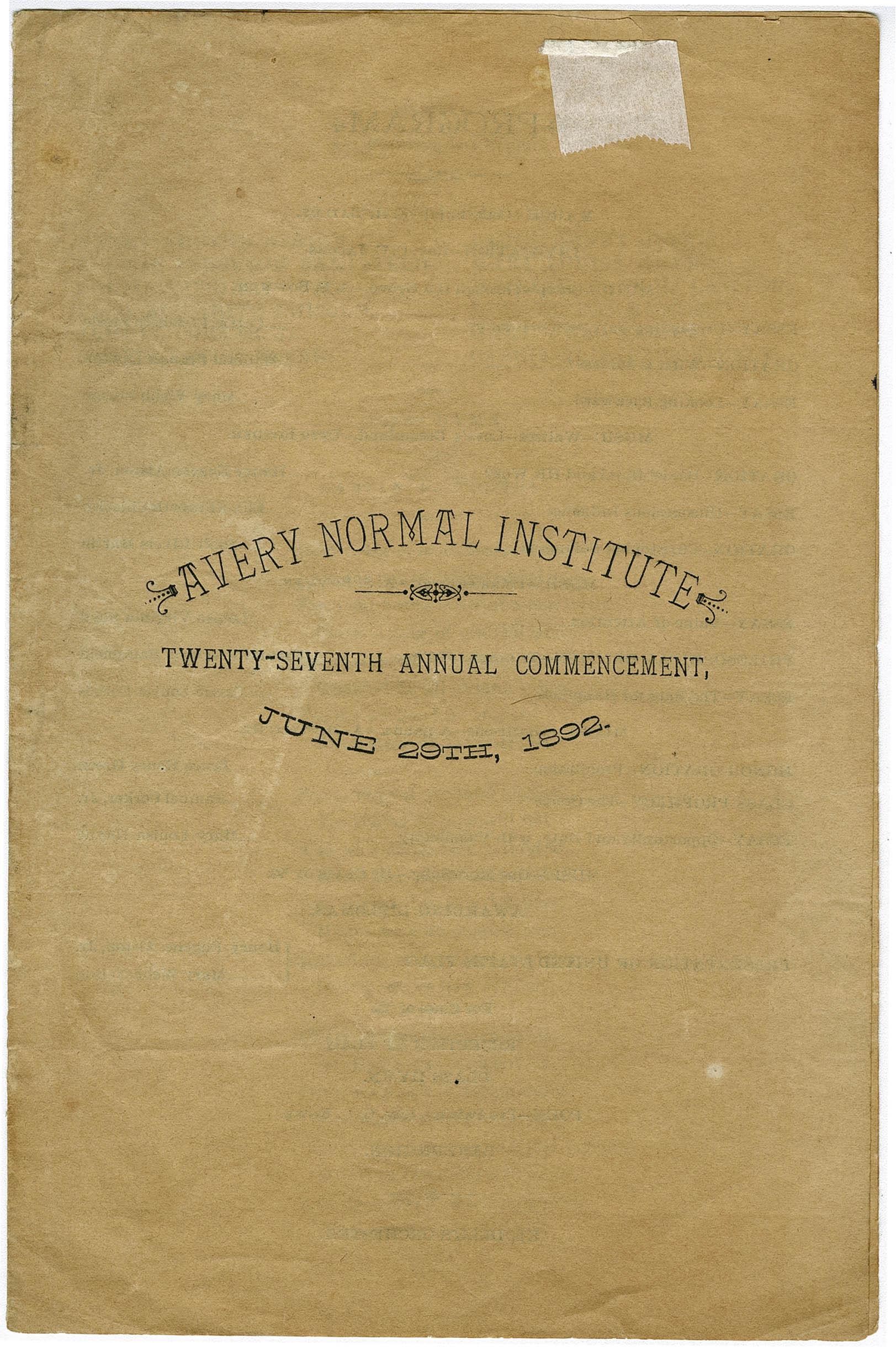 Avery Normal Institutle Twenty-Seventh Annual Commencement Program