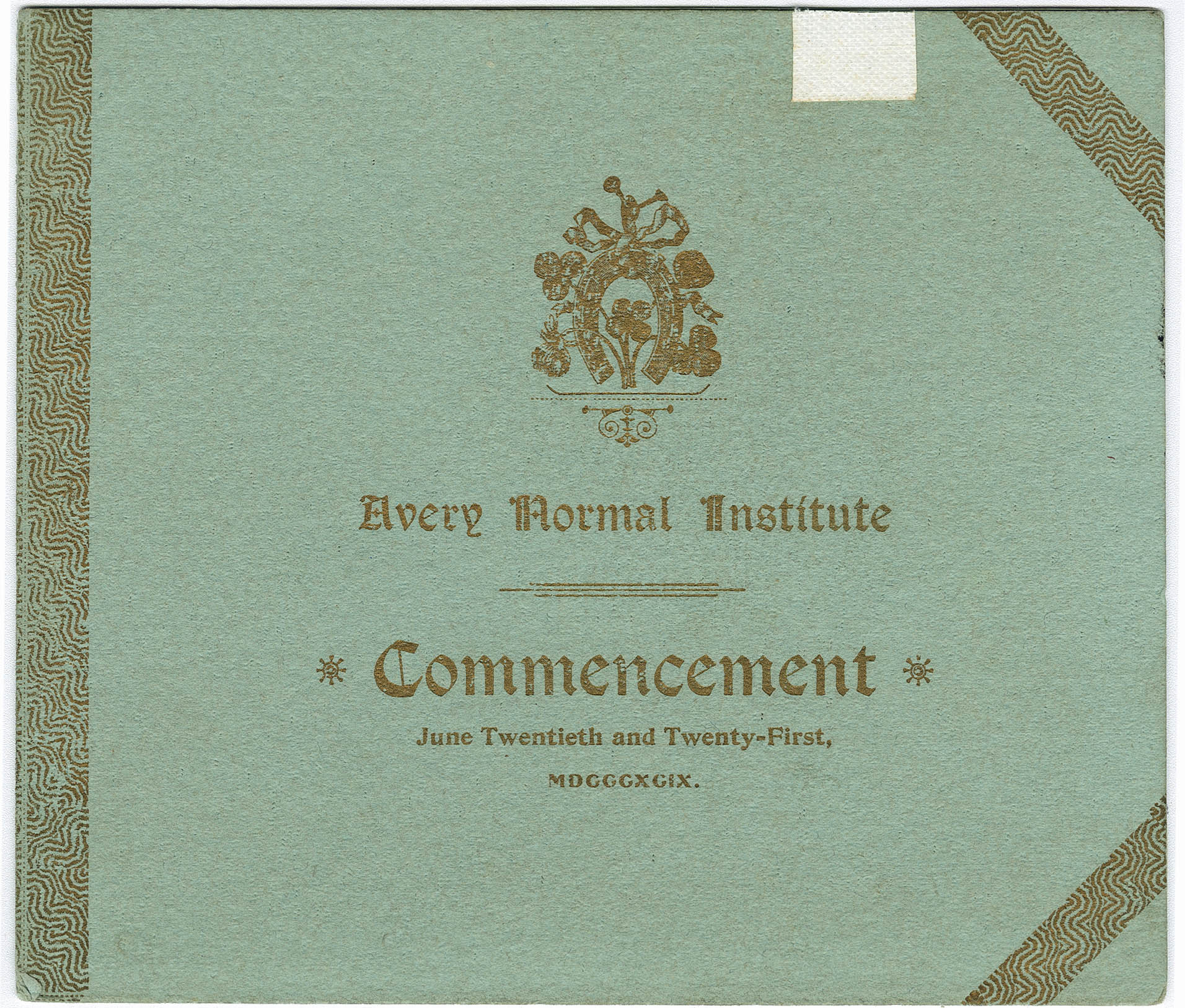 Avery Normal Institute Commencement Program