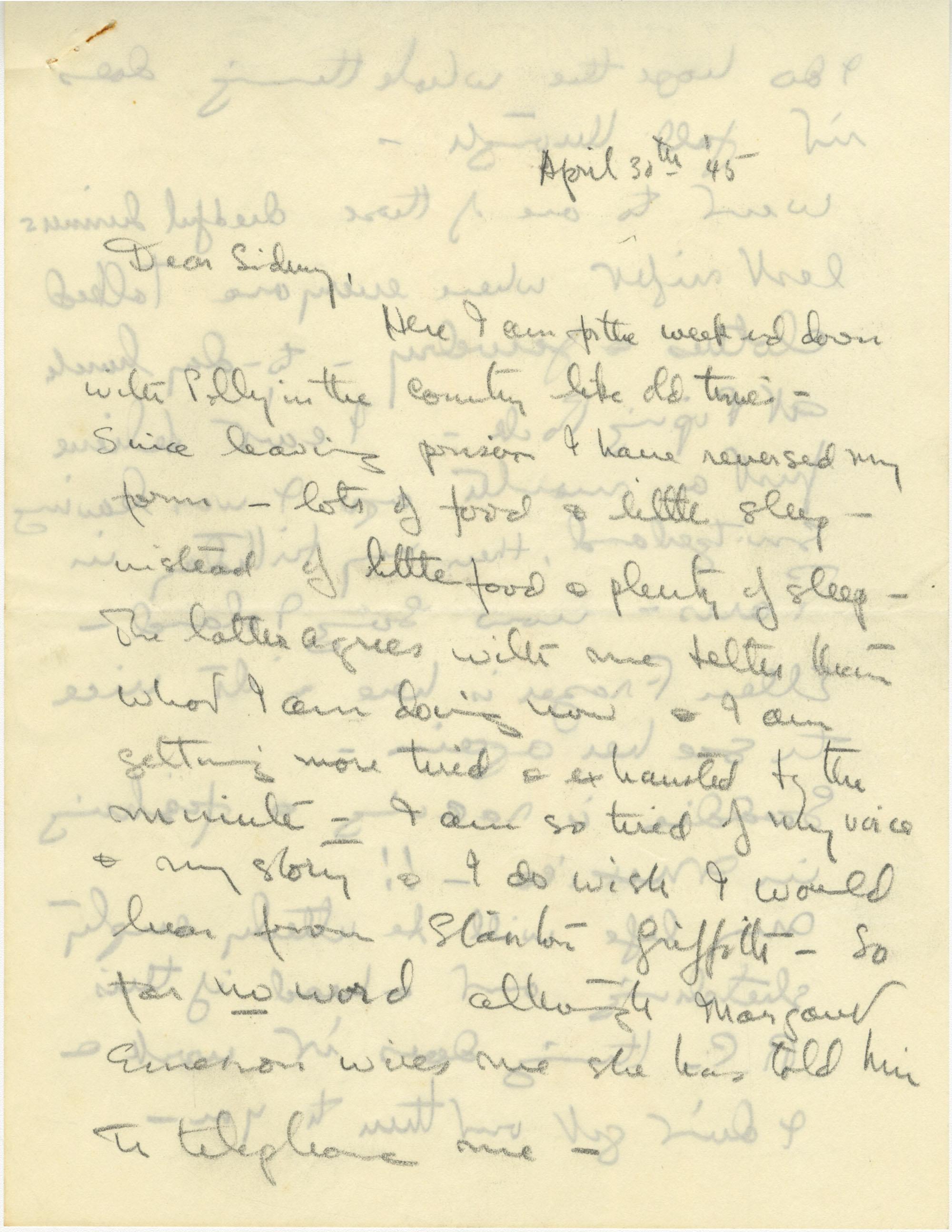Letter from Gertrude Sanford Legendre, April 30, 1945