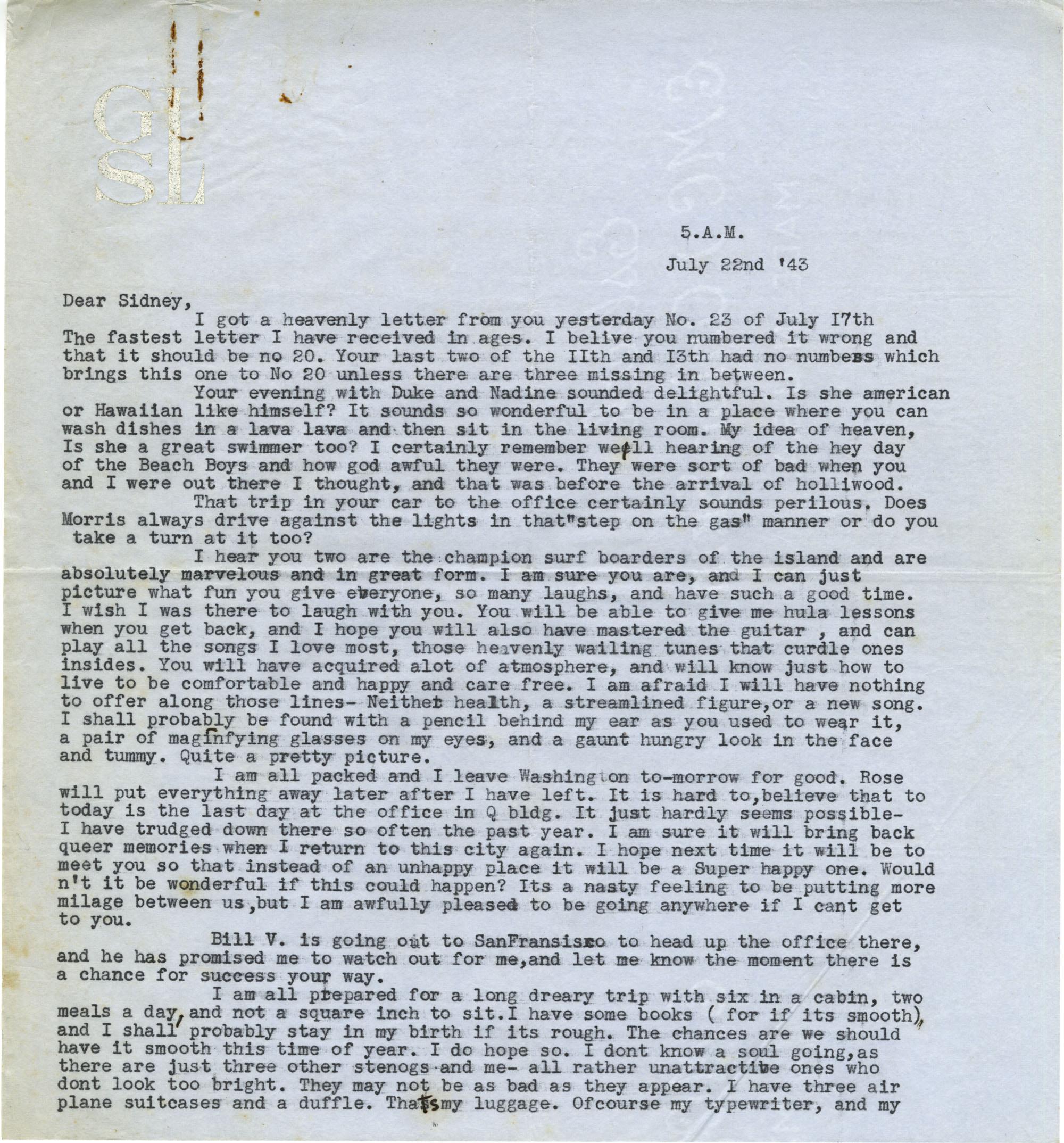 Letter from Gertrude Sanford Legendre, July 22, 1943