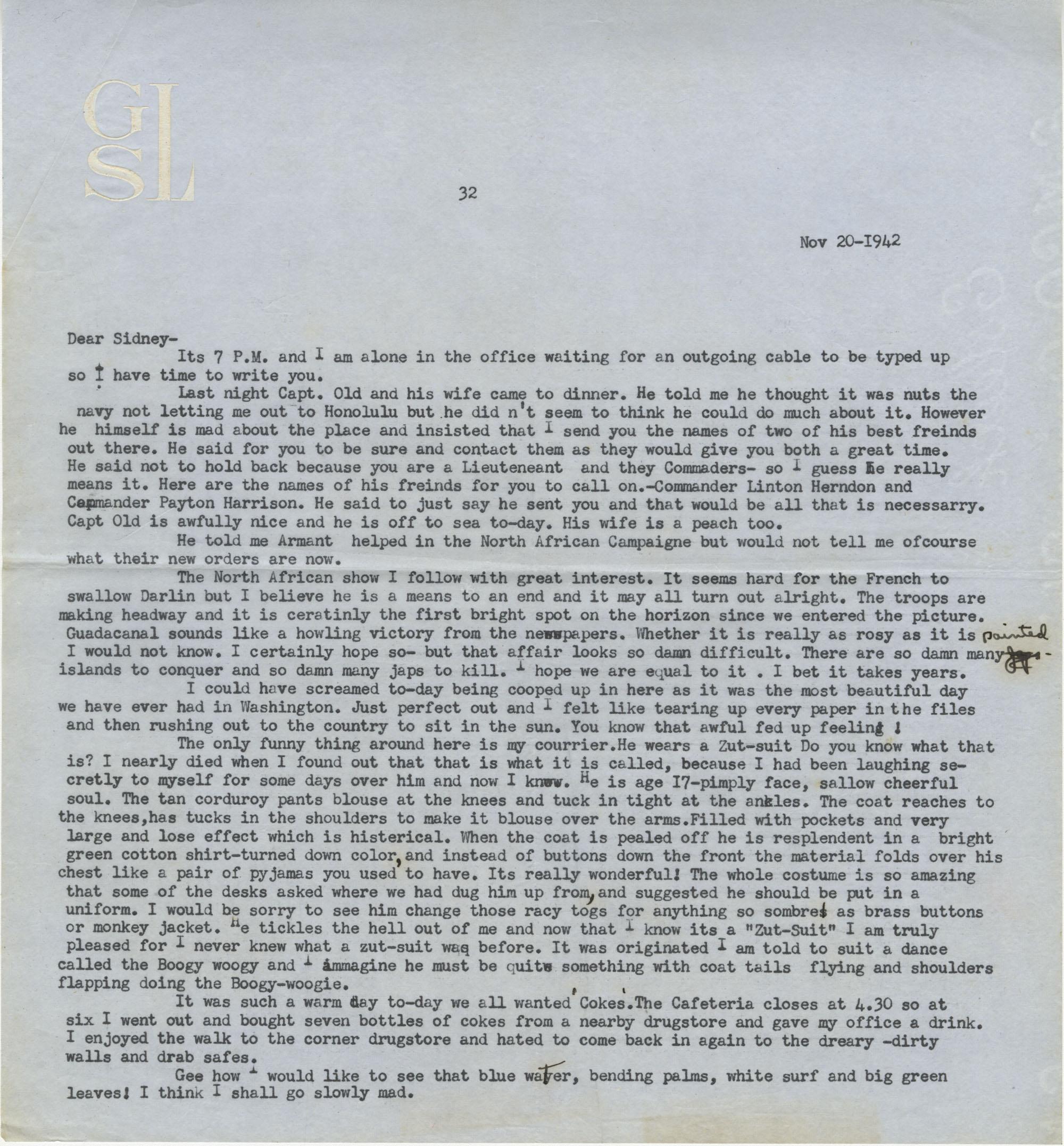 Letter from Gertrude Sanford Legendre, November 20, 1942