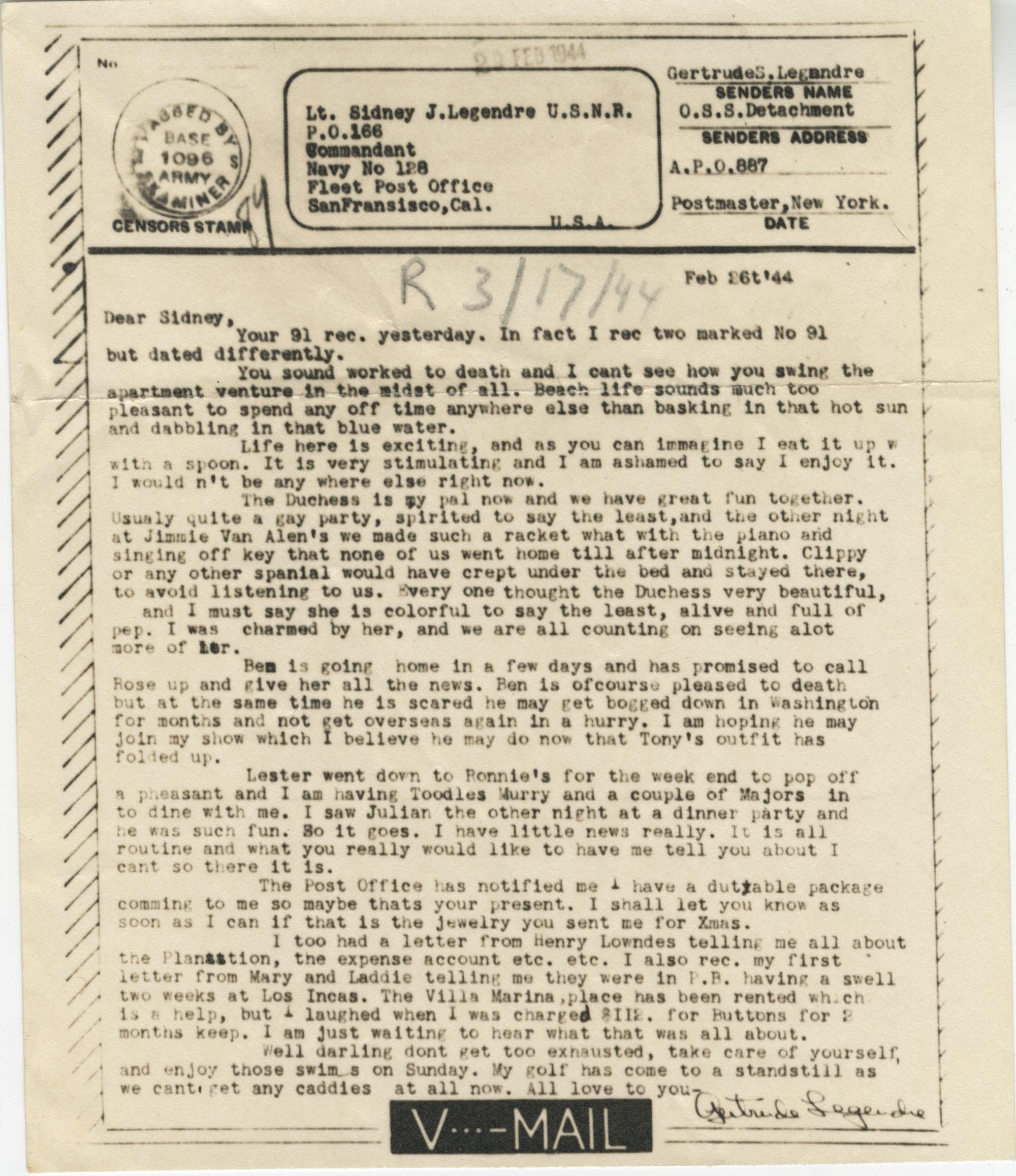 Letter from Gertrude Sanford Legendre, February 26, 1944