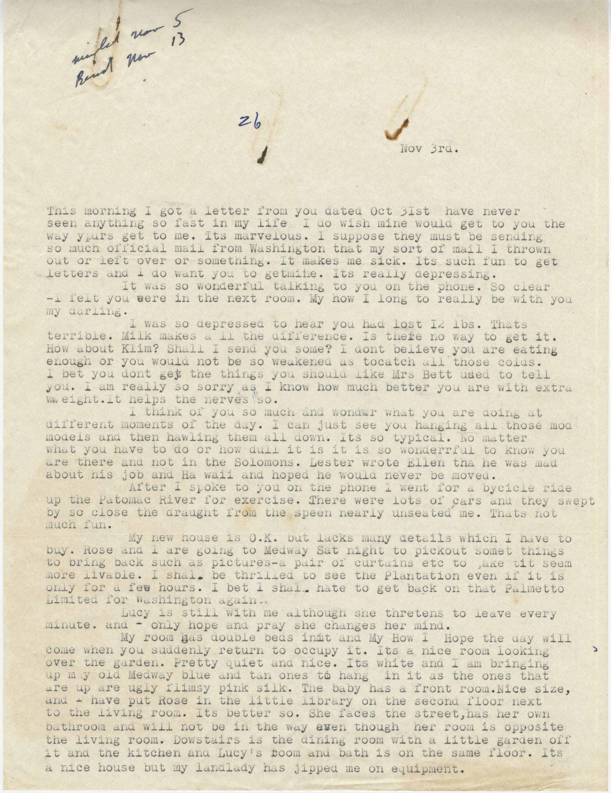 Letter from Gertrude Sanford Legendre, November 3, 1942