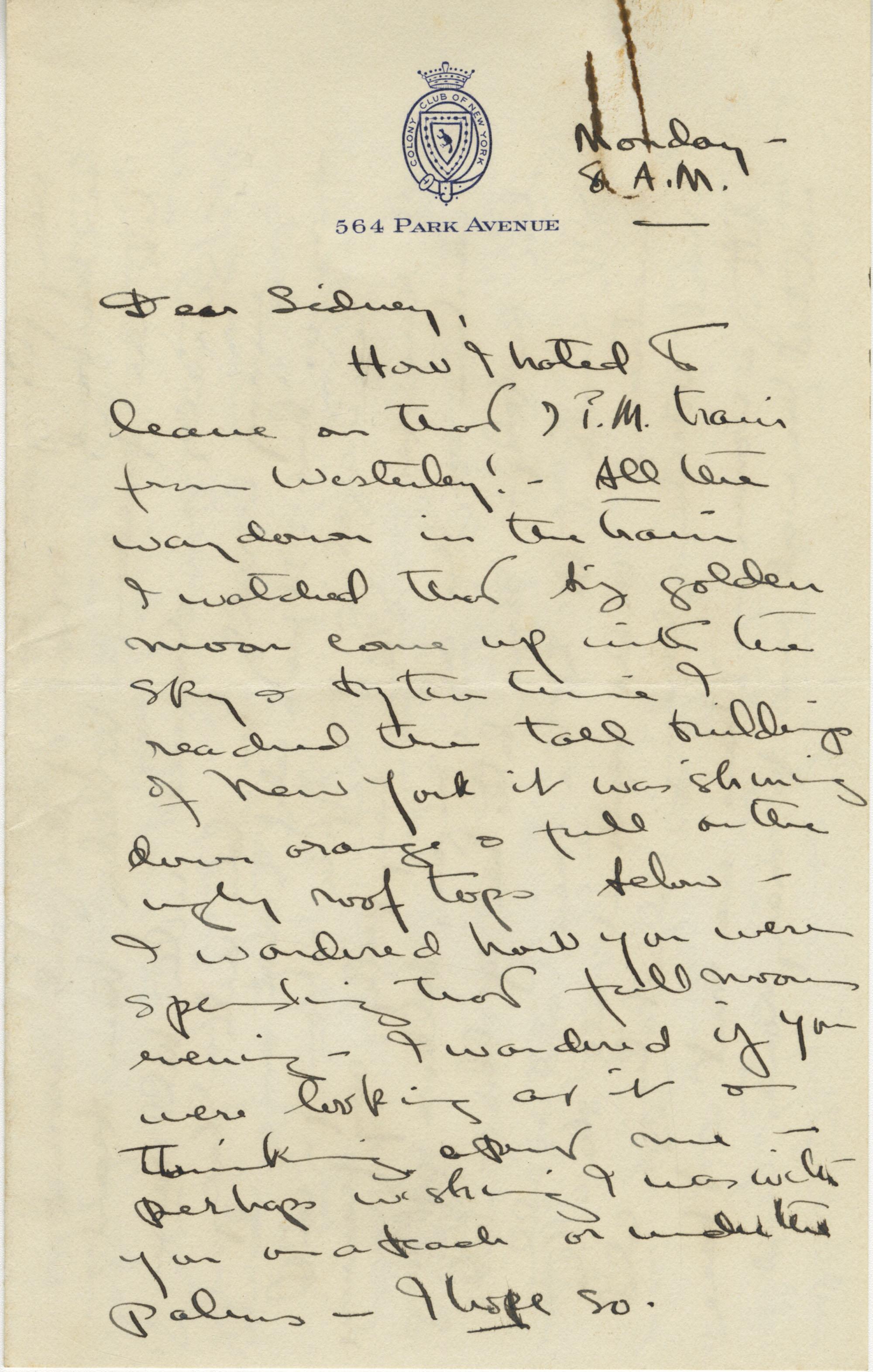 Undated 1943 Letter  from Gertrude Sanford Legendre