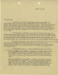 Letter 1 from Sidney Jennings Legendre, August 18, 1945