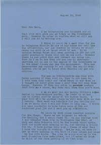 Letter from Sidney Jennings Legendre, August 19, 1942