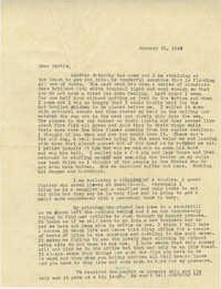 Letter from Sidney Jennings Legendre, January 23, 1943