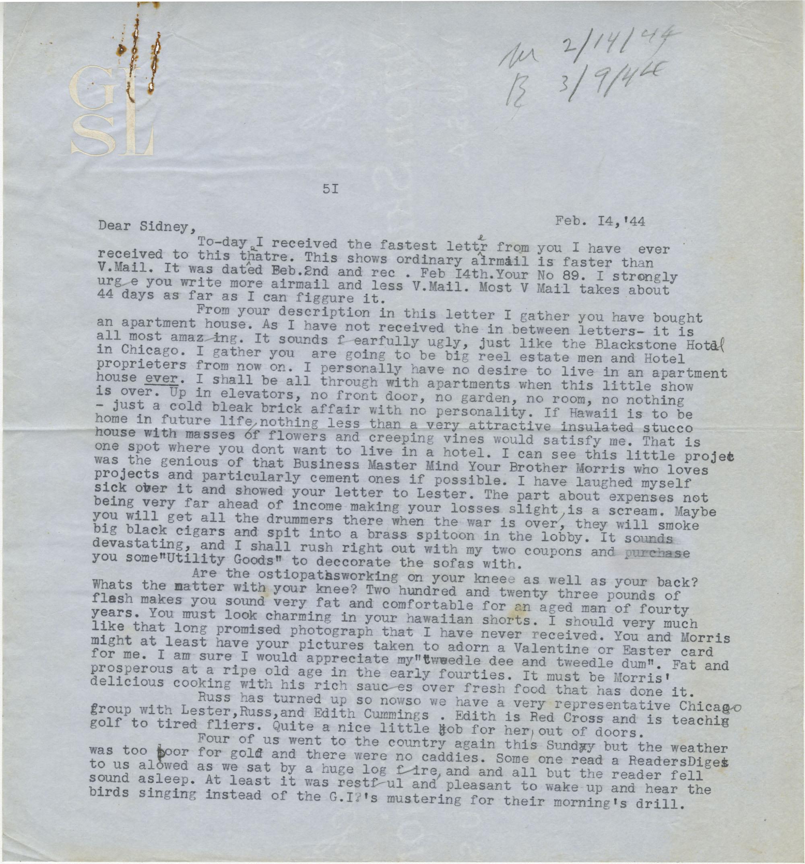 Letter from Gertrude Sanford Legendre, February 14, 1944