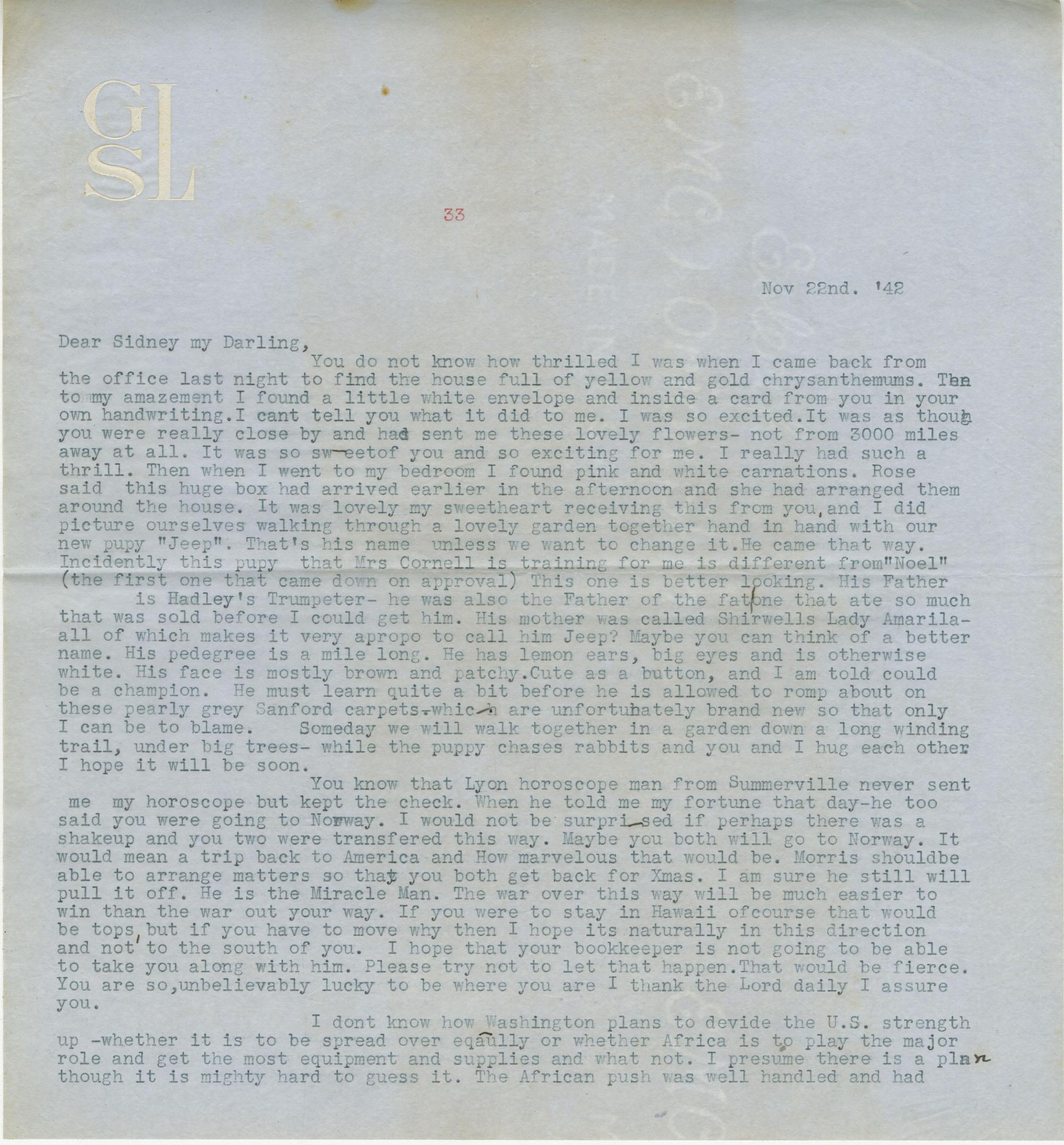 Letter from Gertrude Sanford Legendre, November 22, 1942