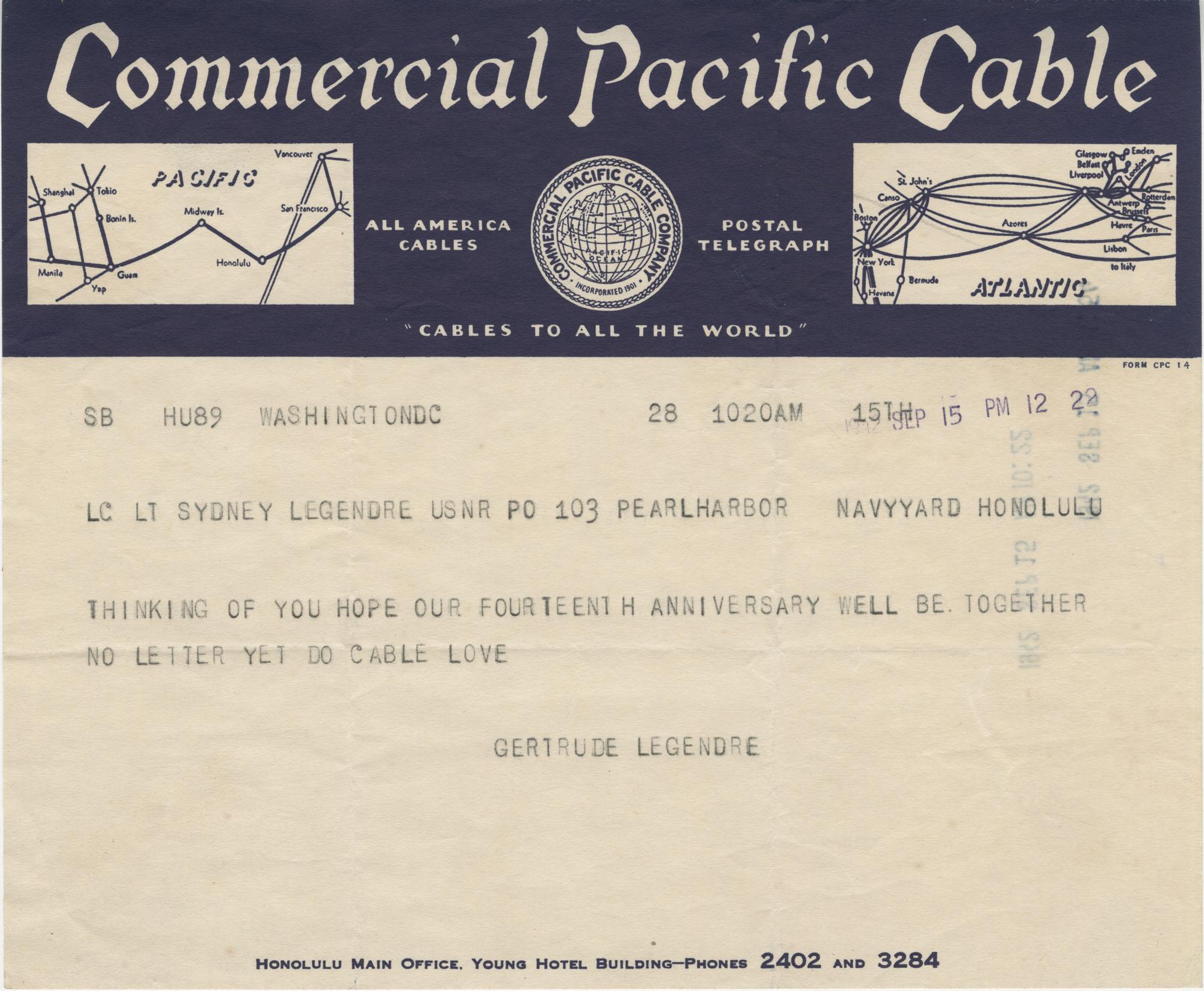 Letter from Gertrude Sanford Legendre, September 15, 1942