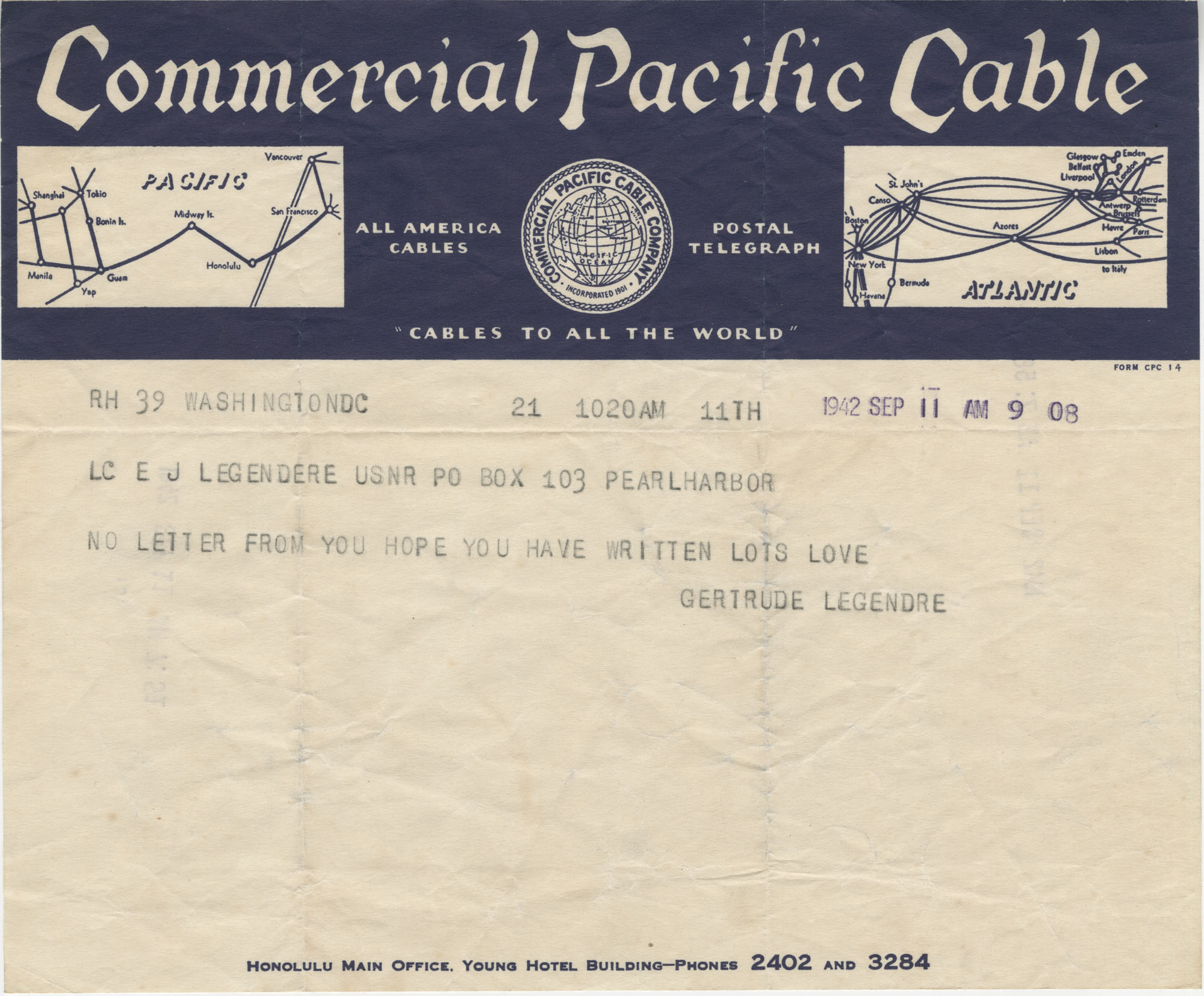 Letter from Gertrude Sanford Legendre, September 11, 1942