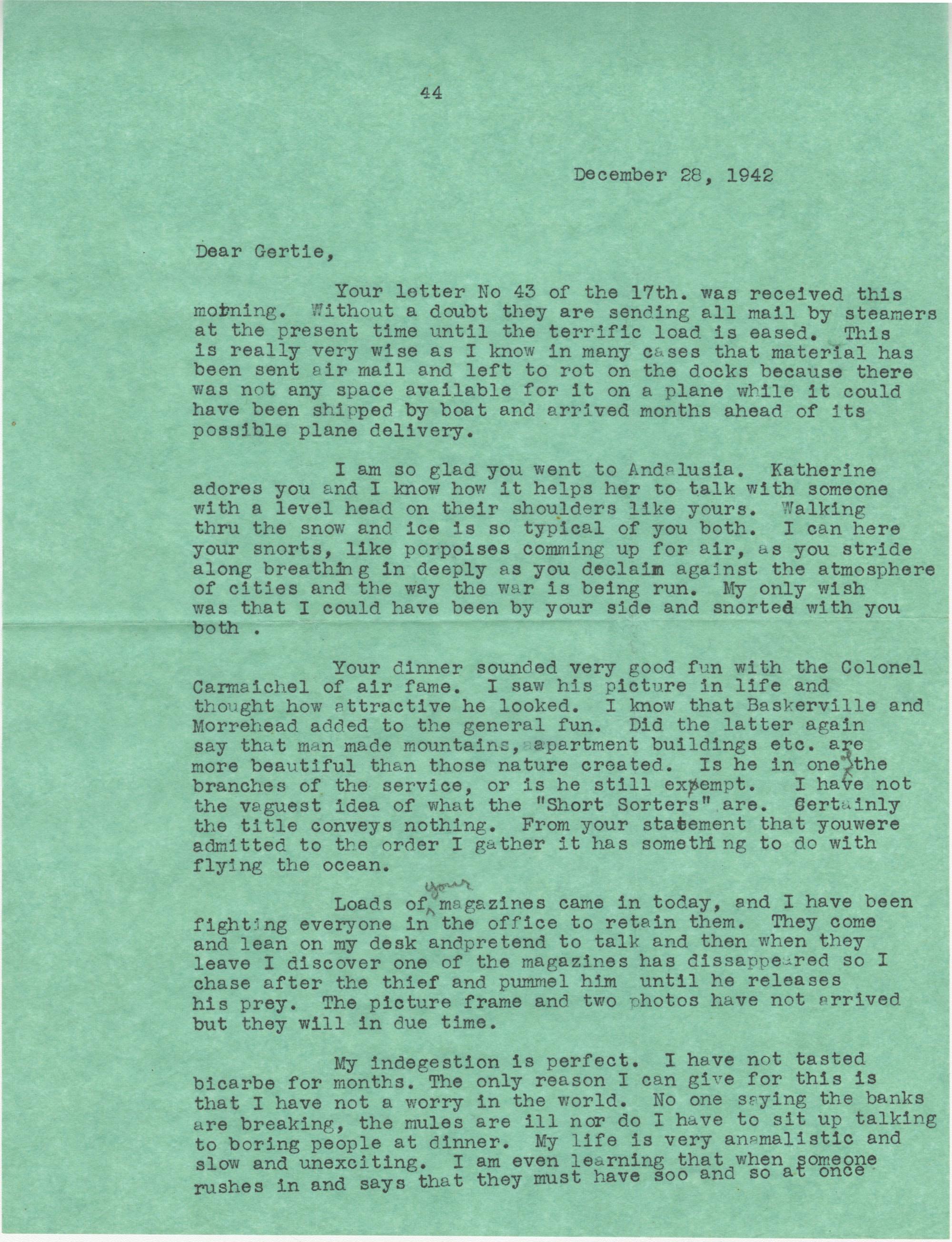 Letter from Sidney Jennings Legendre, December 28, 1942