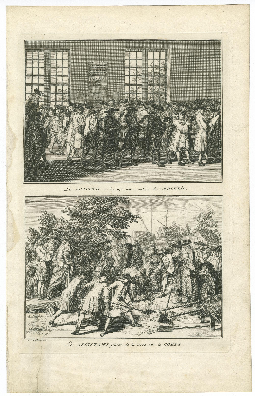 Les Acafoth ou les sept tours, autour du Cercueil / Les Assistans jettent de la terre sur le Corps