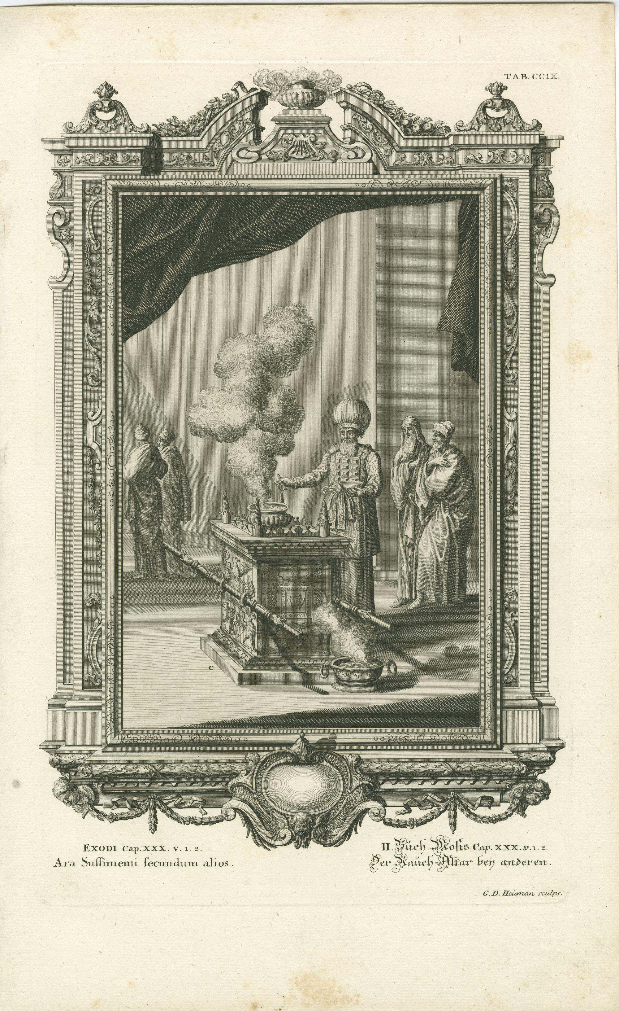 Exodi Cap. XXX v. 1.2 Ara Suffimenti secundum alios / II. Buch Mosis Cap. XXX v. 1.2 Der Rauch-Altar bey anderen