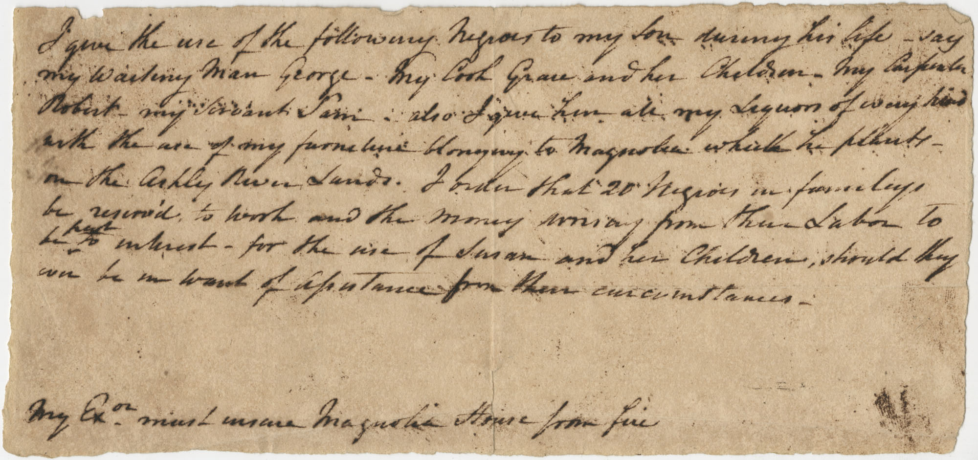 Portion of Thomas Drayton's (?) will, undated, unsigned
