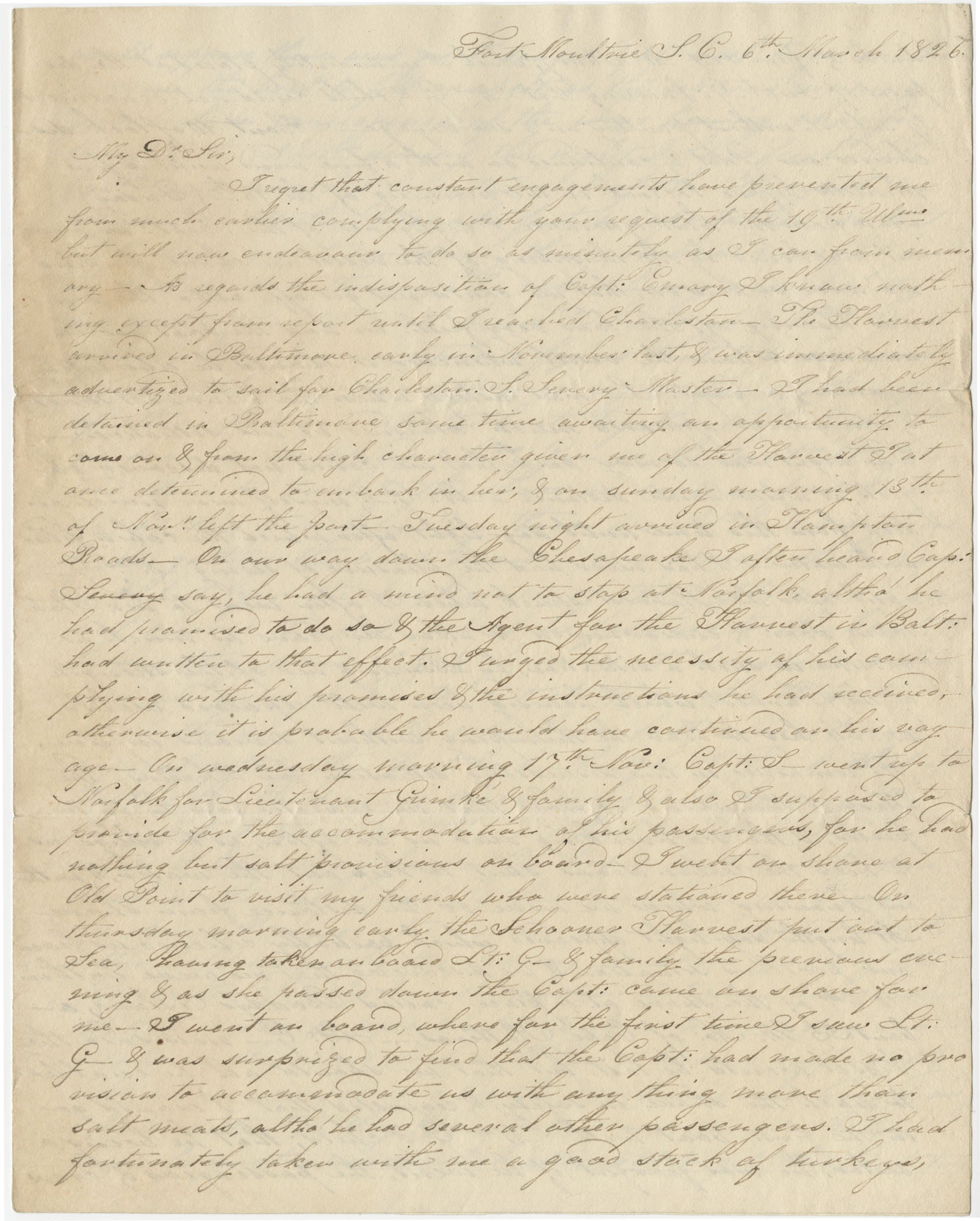 Letter from Benjamin King giving an acoount of the wreck of the
