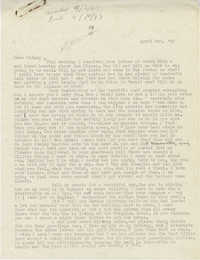 Letter from Gertrude Sanford Legendre, April 2, 1943