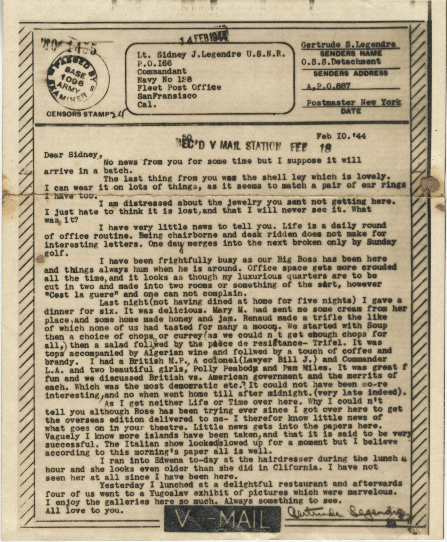 Letter from Gertrude Sanford Legendre, February 10, 1944