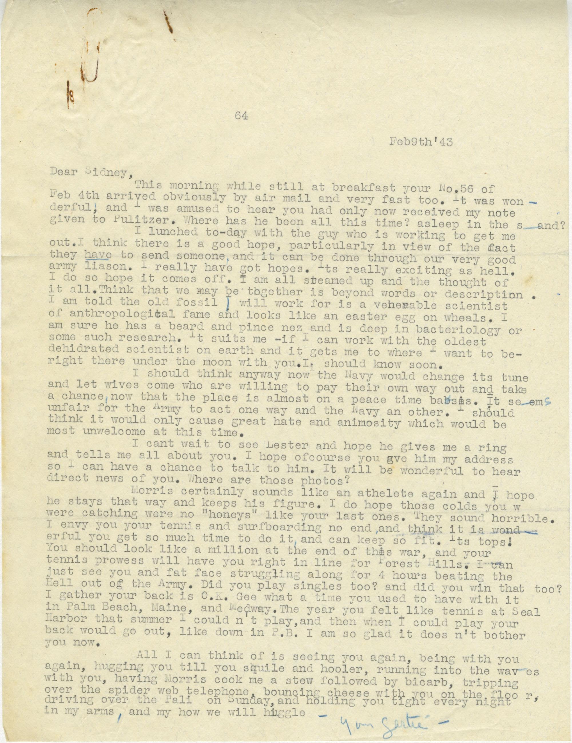 Letter from Gertrude Sanford Legendre, February 9, 1943
