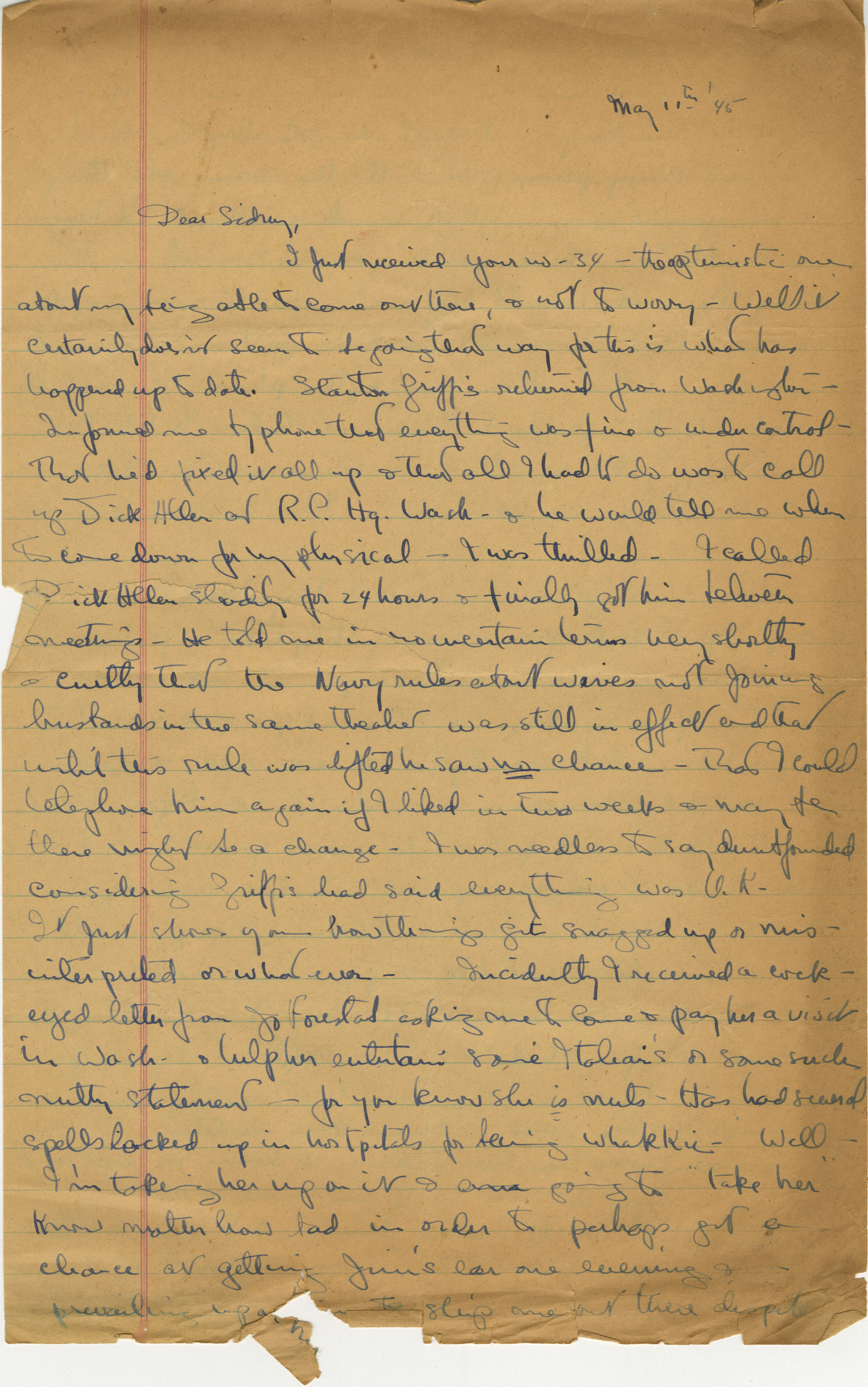Letter from Gertrude Sanford Legendre, July 4, 1945