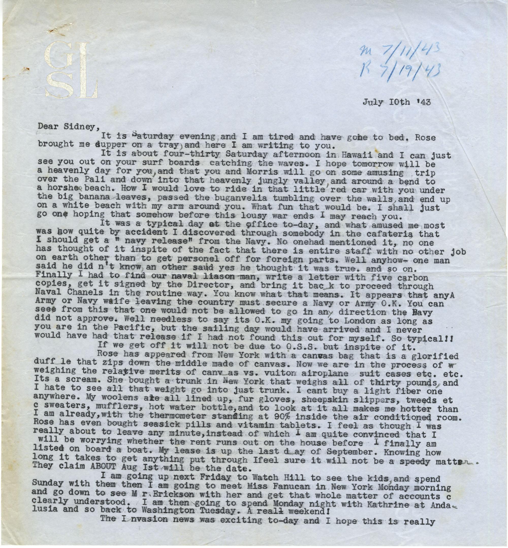 Letter from Gertrude Sanford Legendre, July 10, 1943