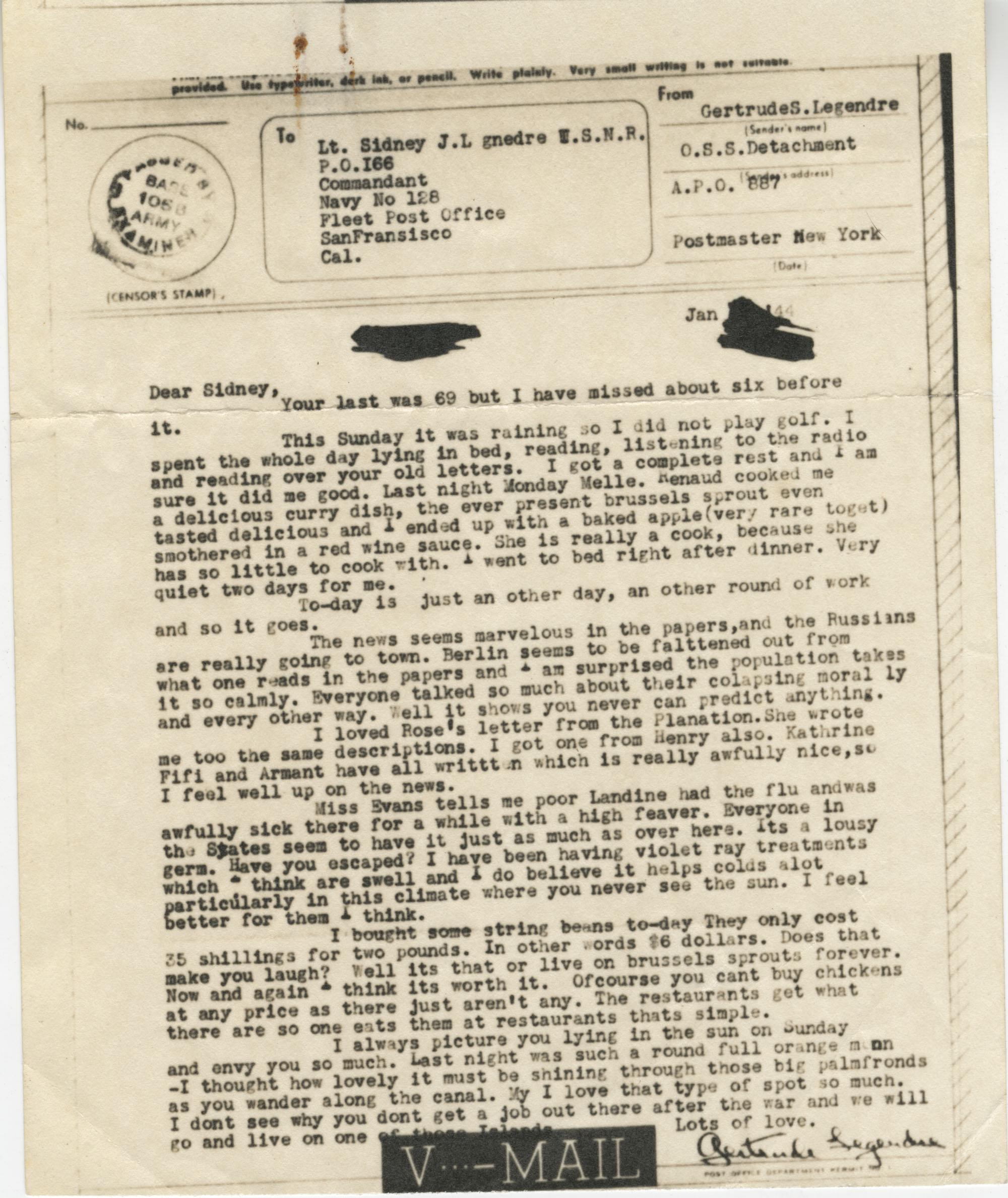 Letter from Gertrude Sanford Legendre, January 1944