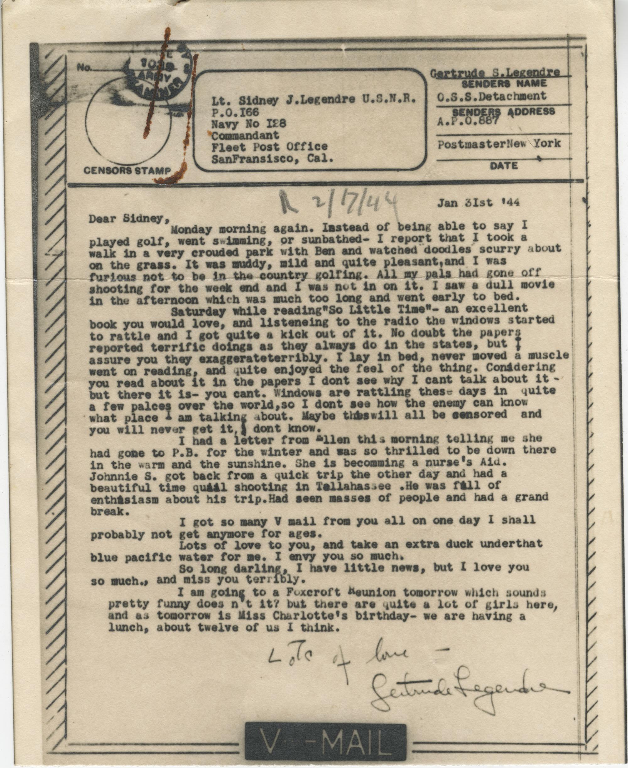 Letter from Gertrude Sanford Legendre, January 31, 1944
