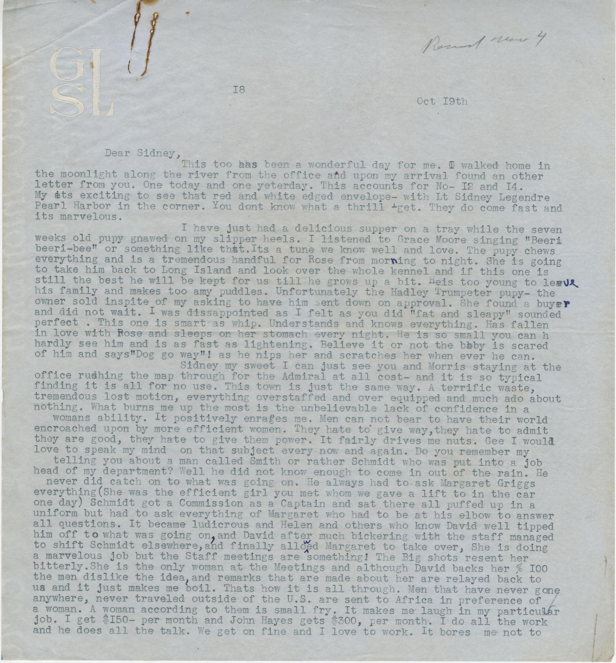 Letter from Gertrude Sanford Legendre, October 19, 1942