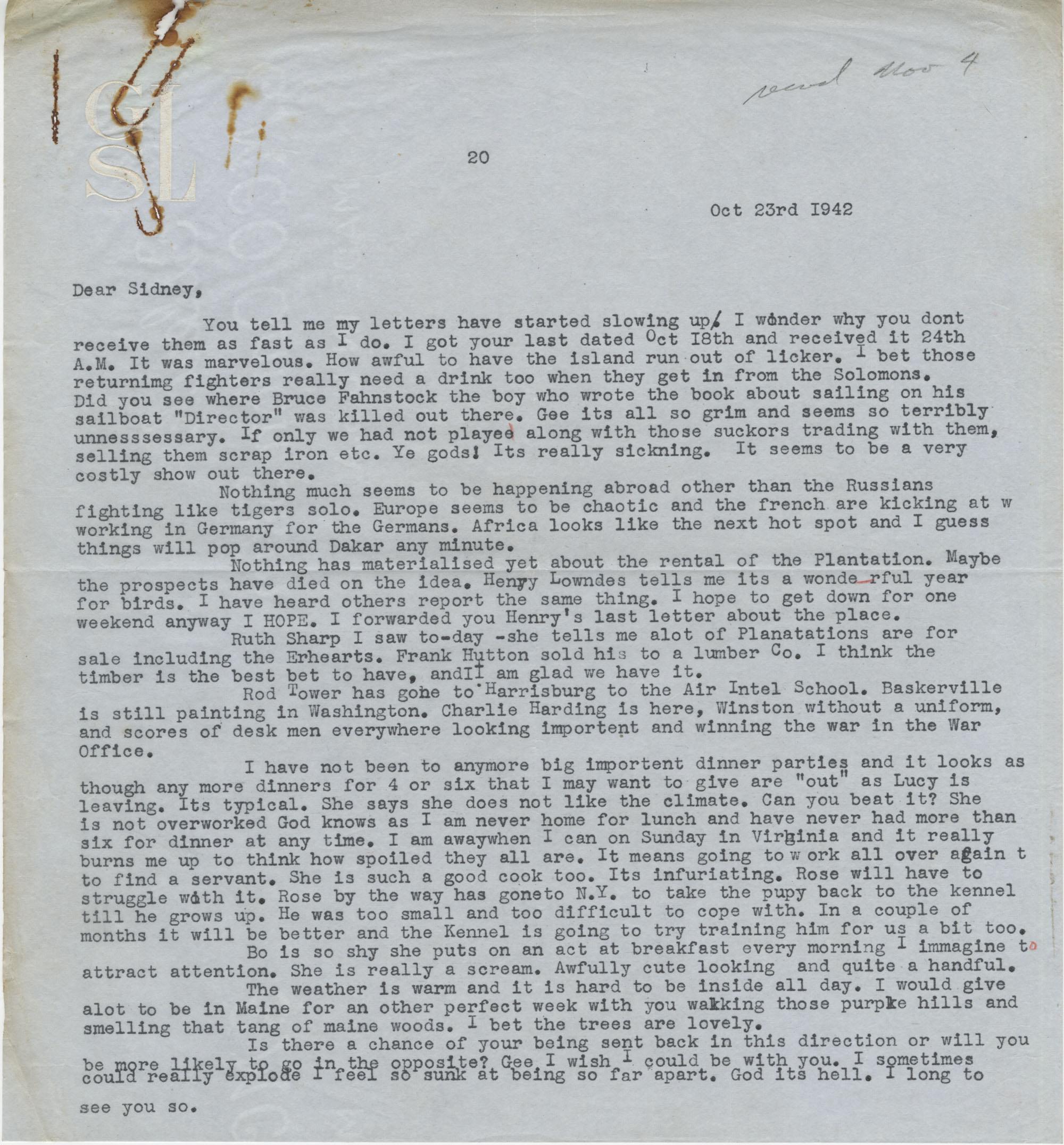 Letter from Gertrude Sanford Legendre, October 23, 1942