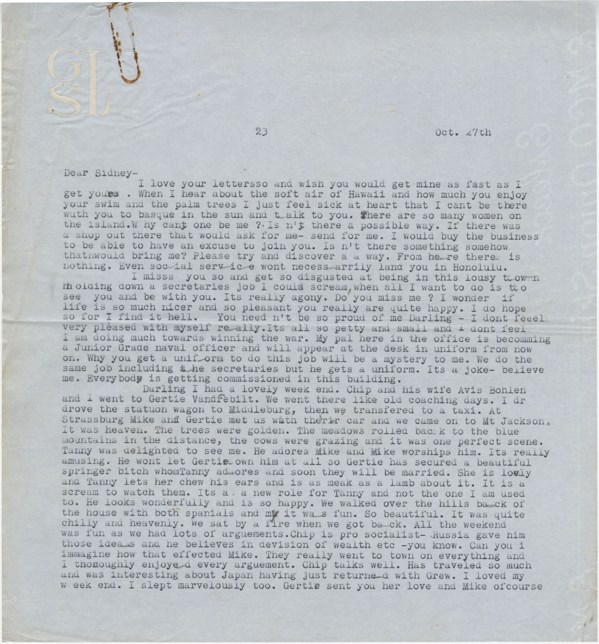 Letter from Gertrude Sanford Legendre, October 27, 1942