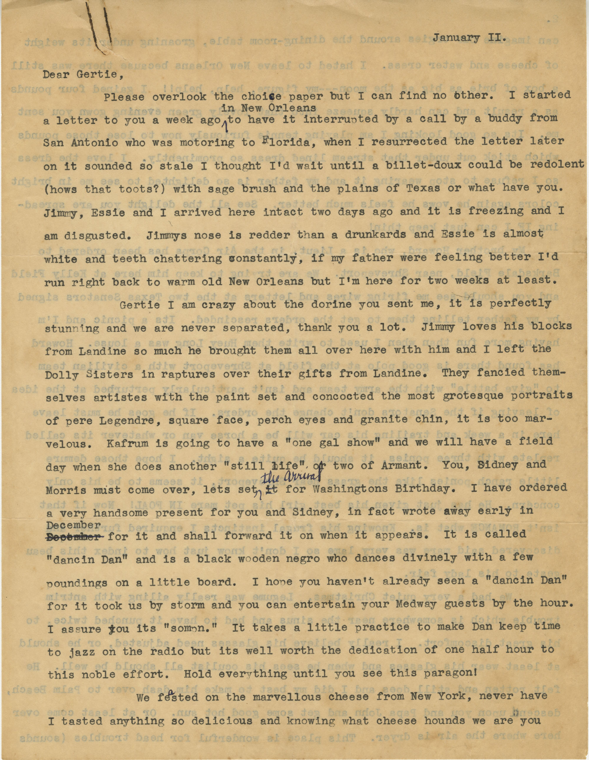 Letter from Olive Legendre, January 11, 1938