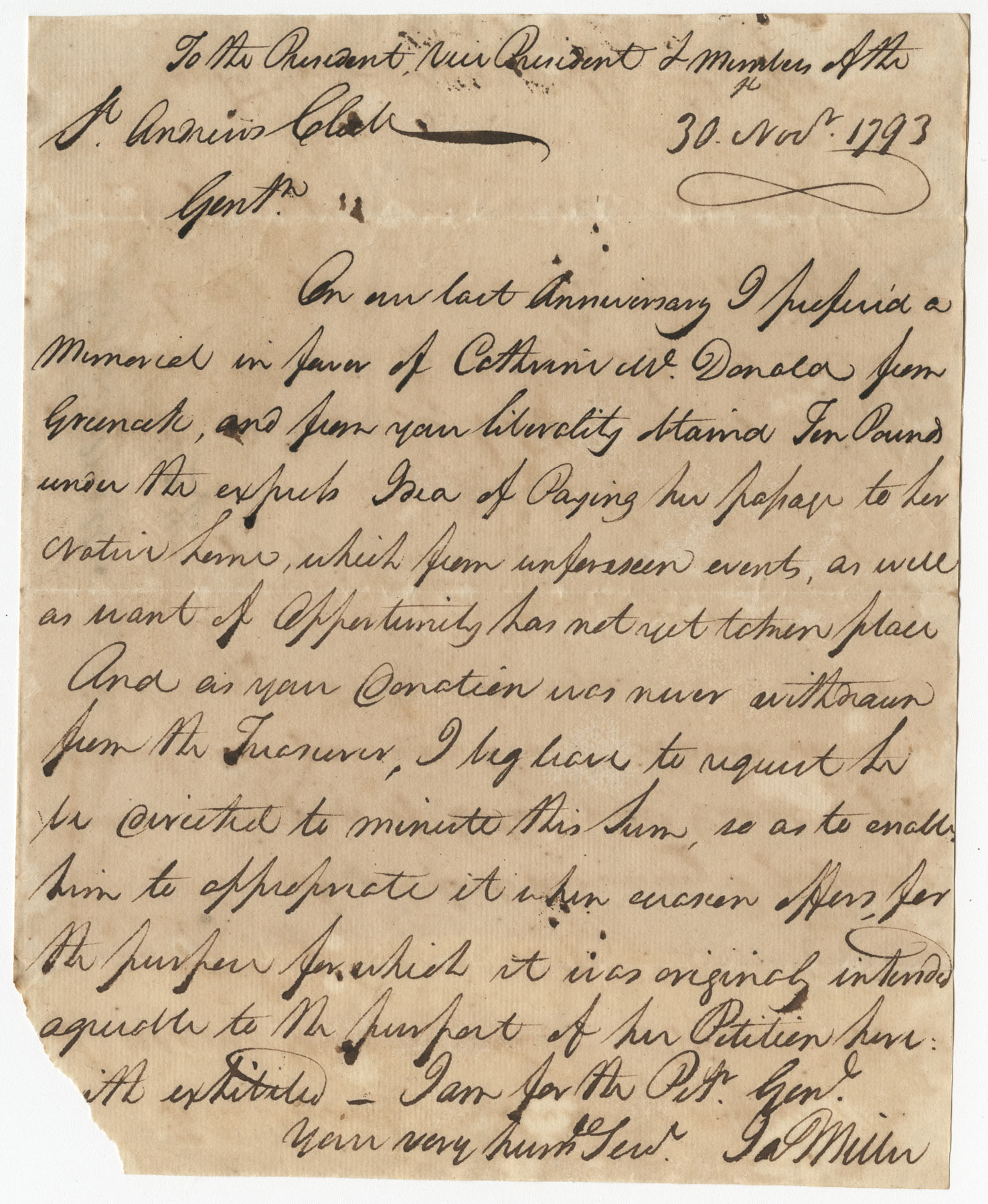 St. Andrew's Society note written by I. Miller