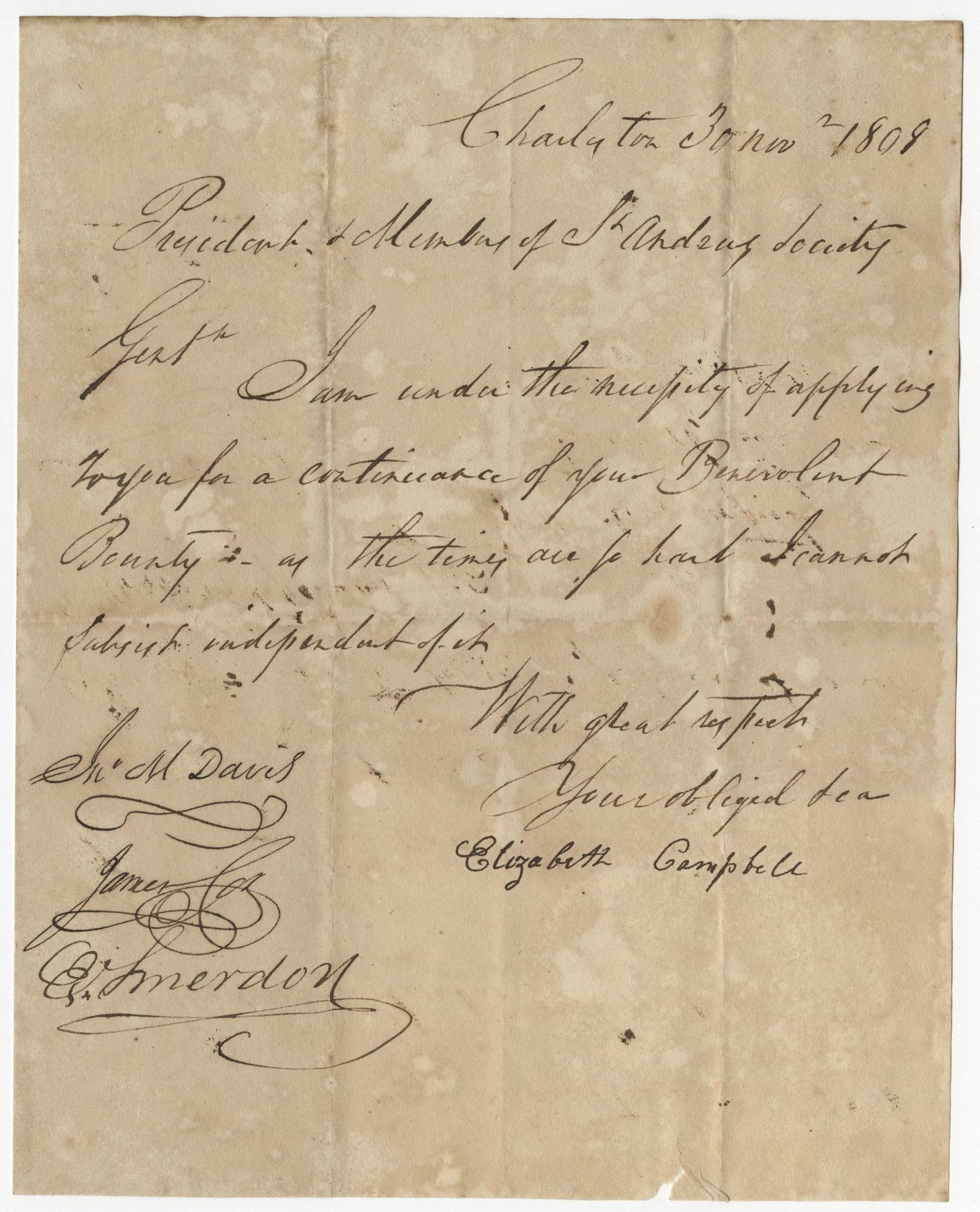 Petition from Elizabeth Campbell to the St. Andrew's Society