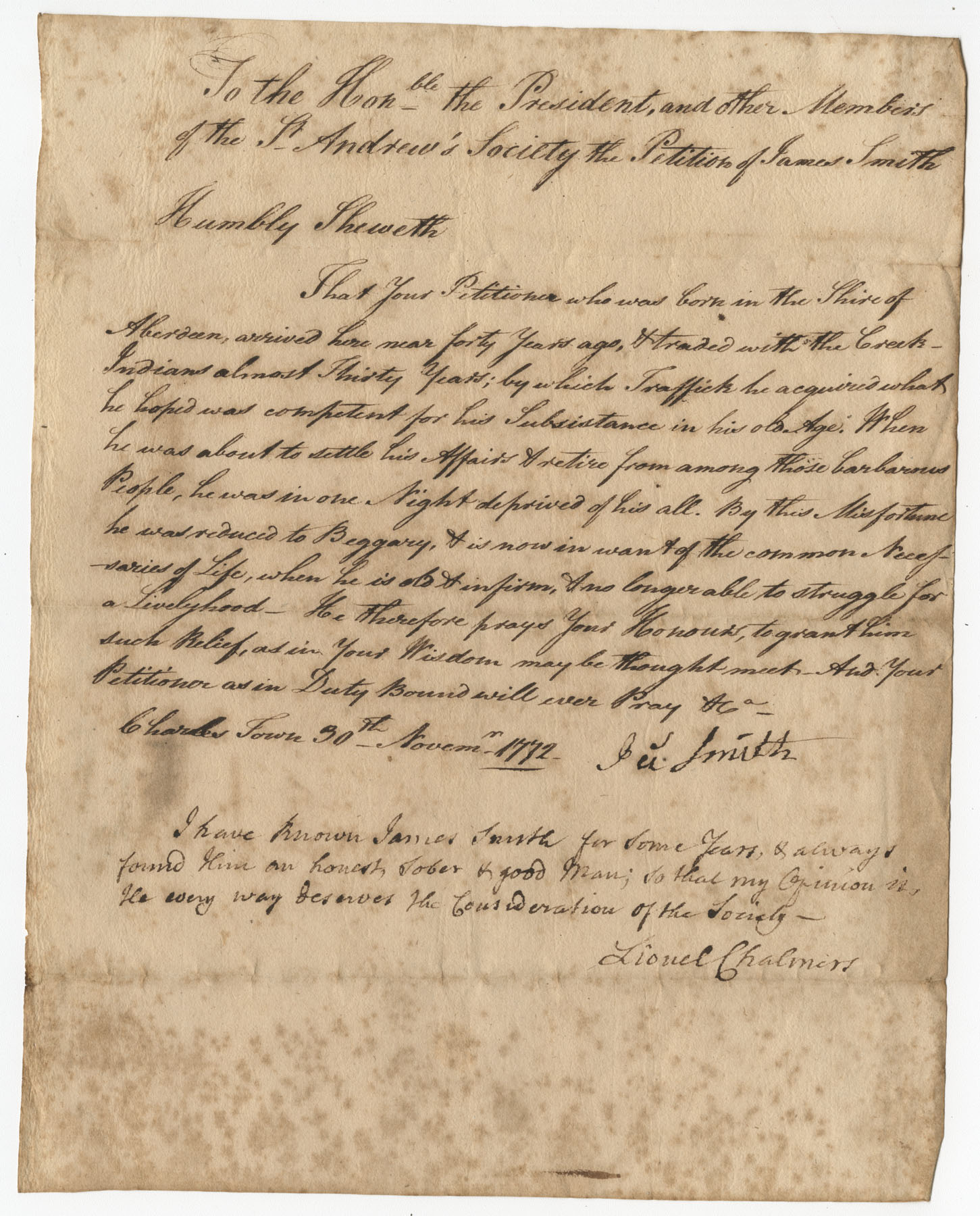 Petition from James Smith to the St. Andrew's Society