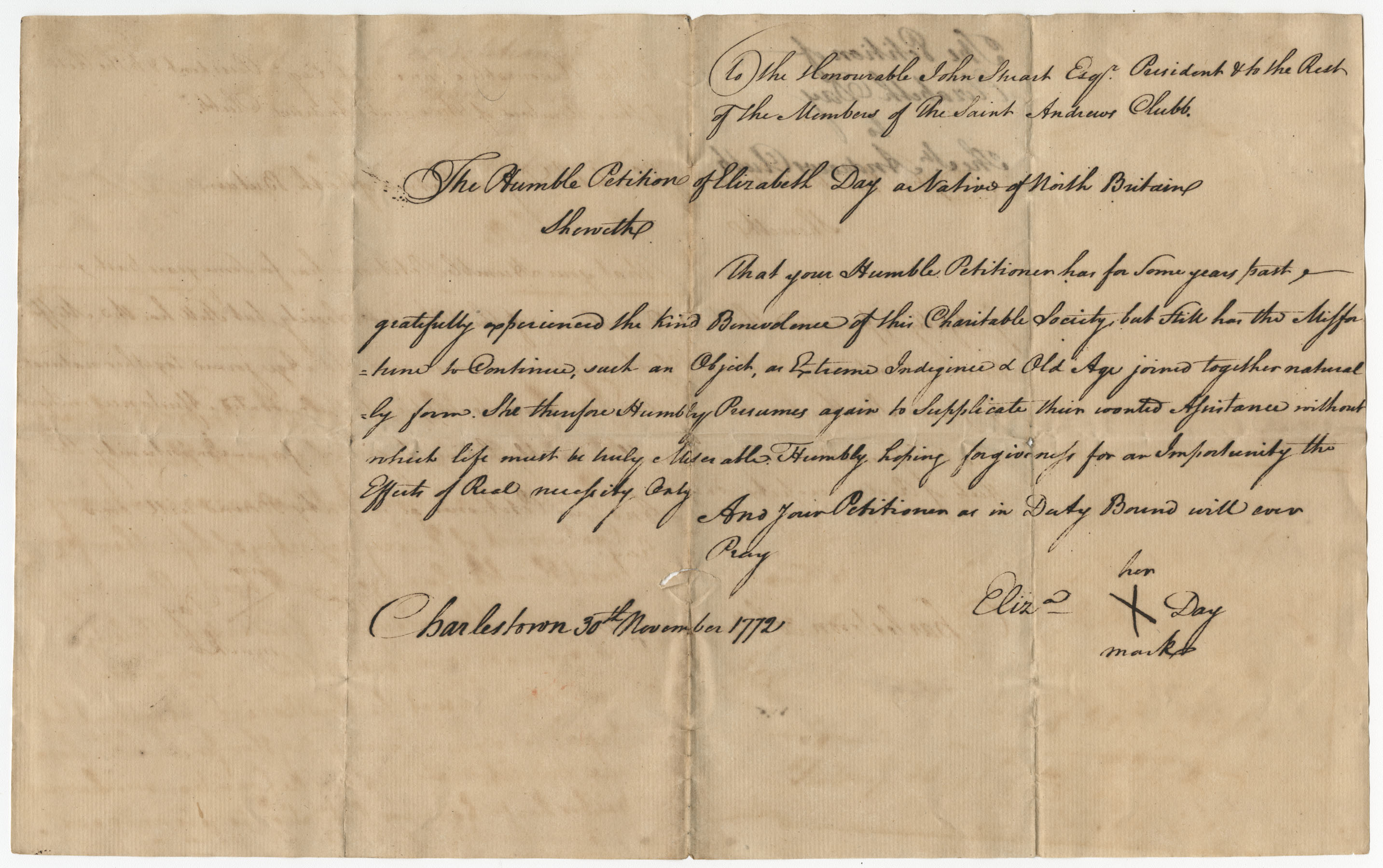 Petition from Eliza Day to the St. Andrew's Society