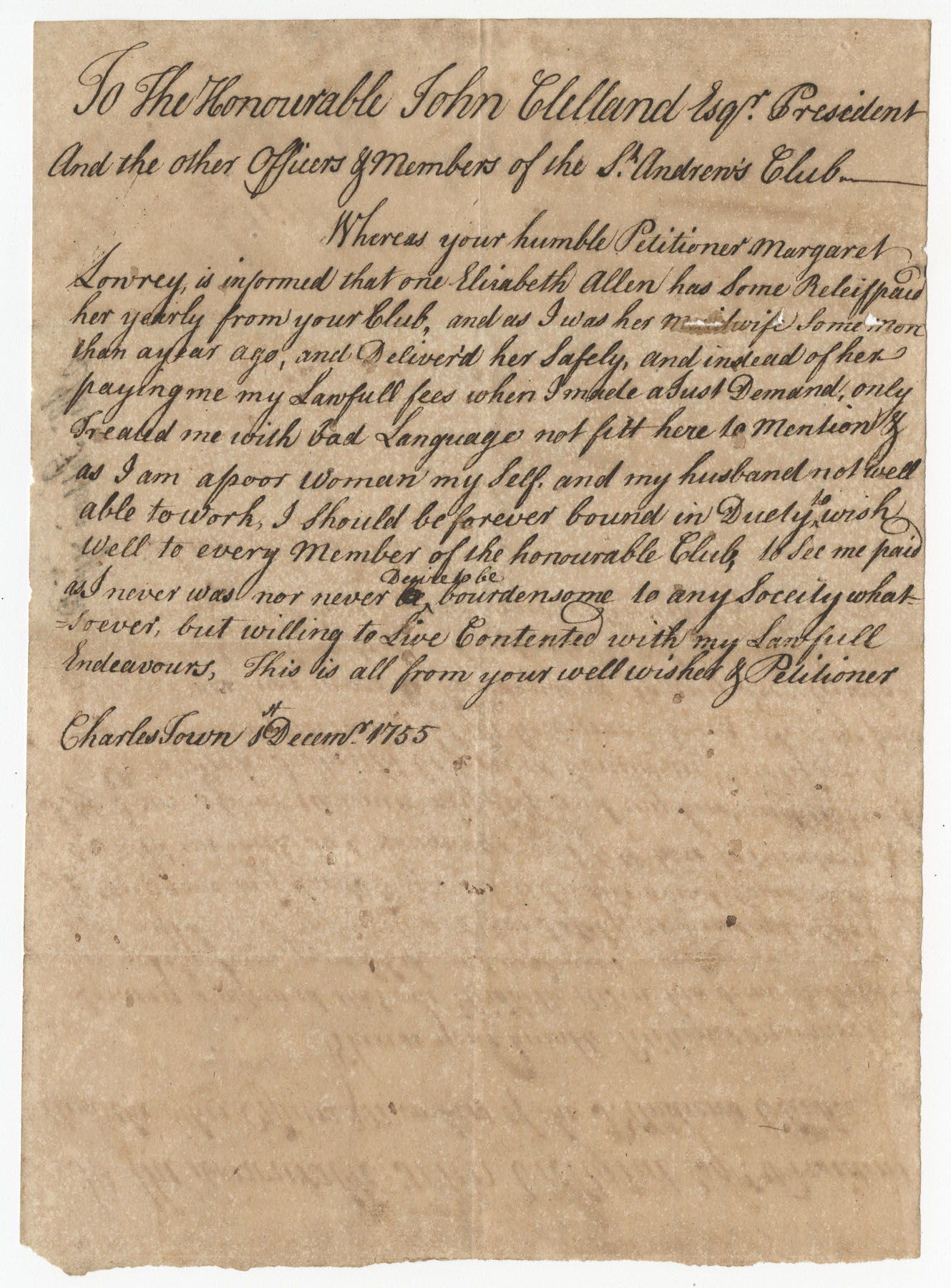 Petition from Margaret Lowrey to the St. Andrew's Society