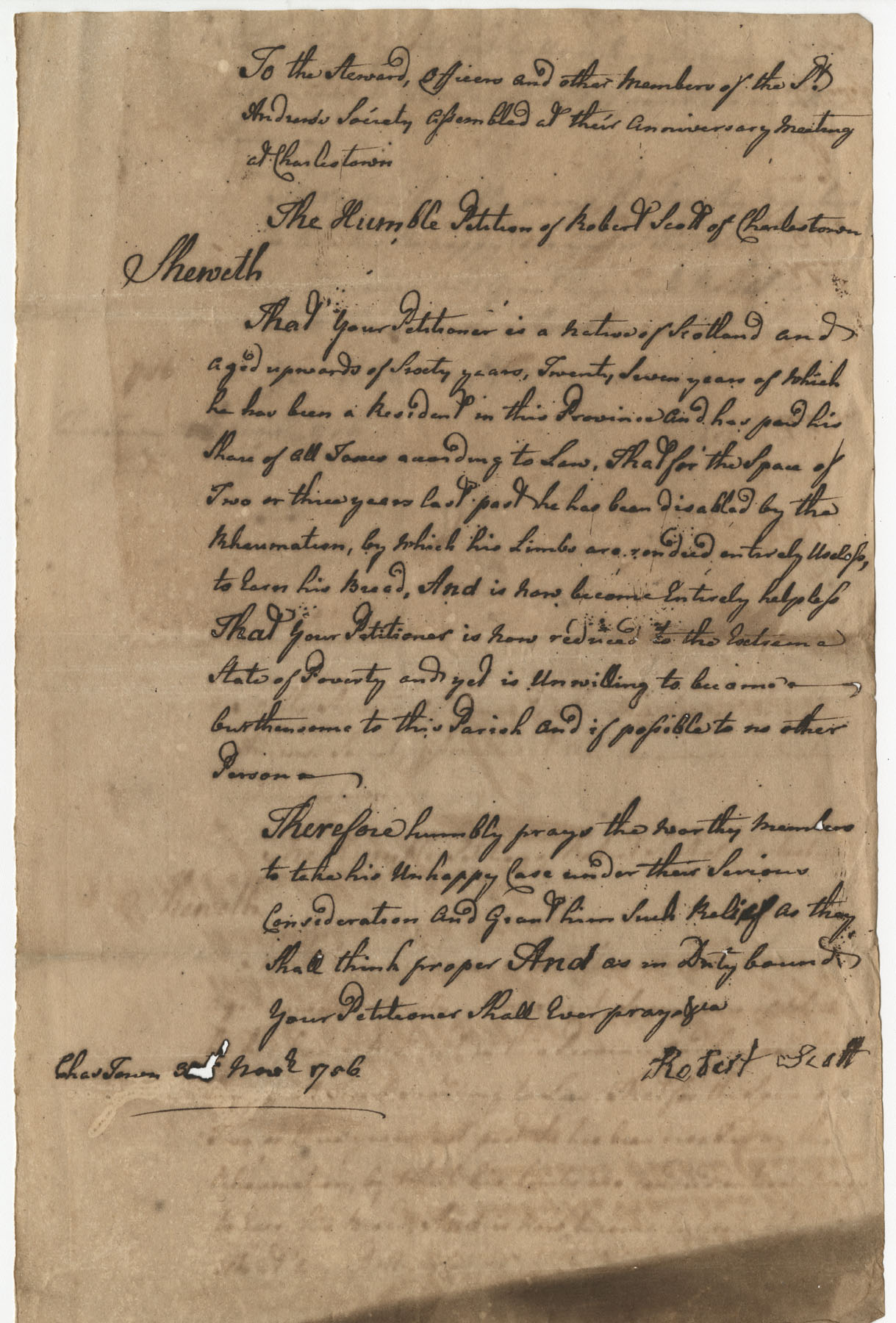 Petition from Robert Scott to the St. Andrew's Society