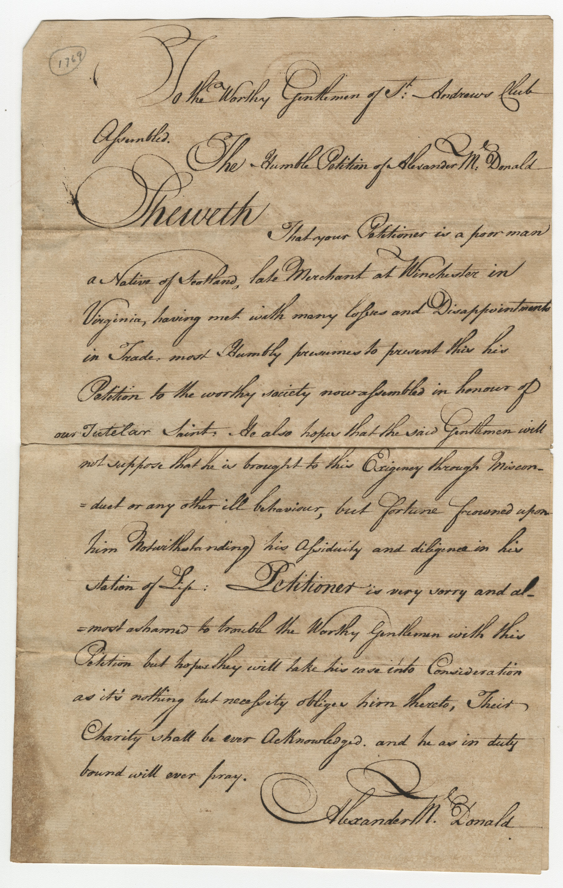 Petition from Alexander McDonald to the St. Andrew's Society