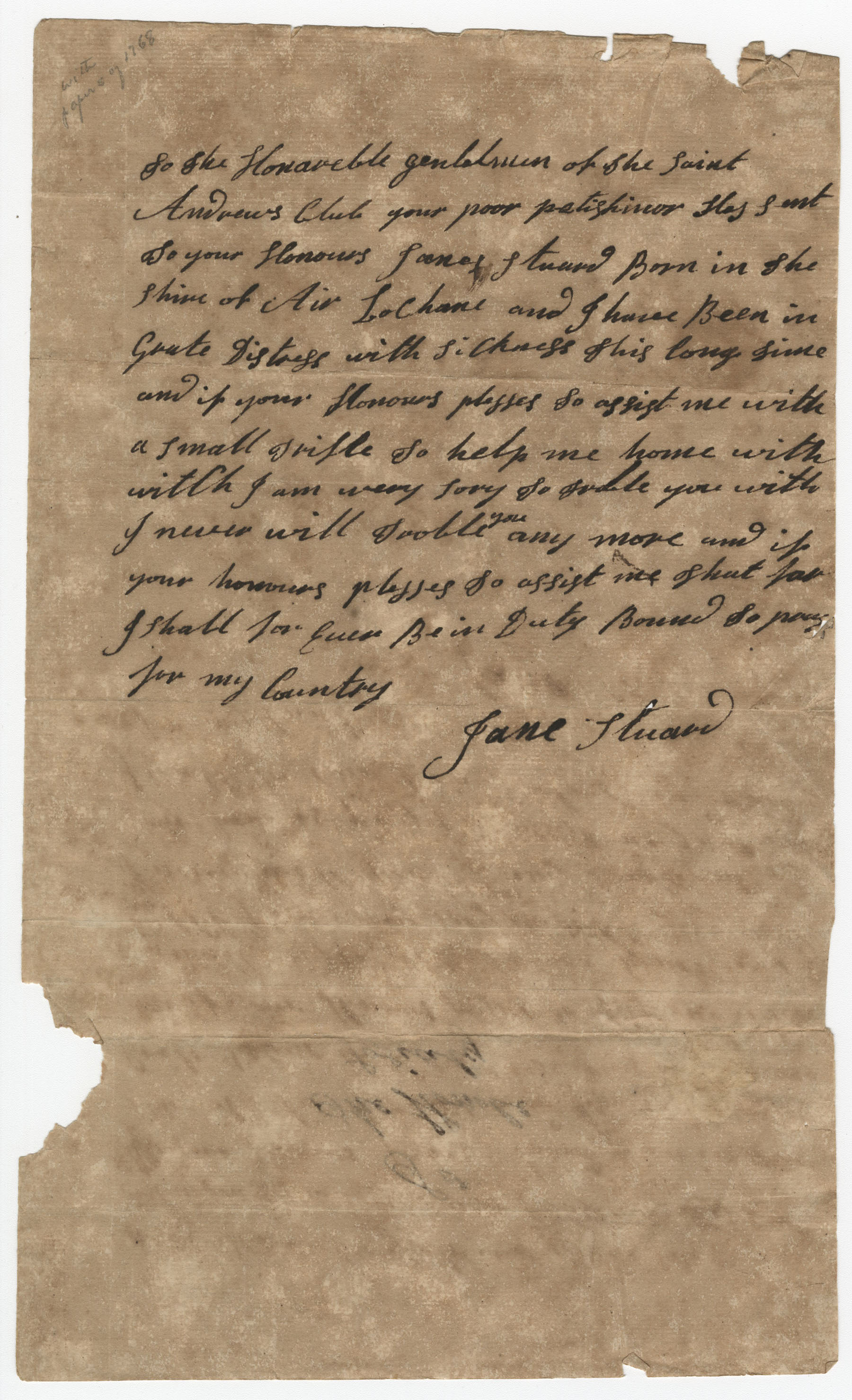 Petition from Jane Stuard to the St. Andrew's Society