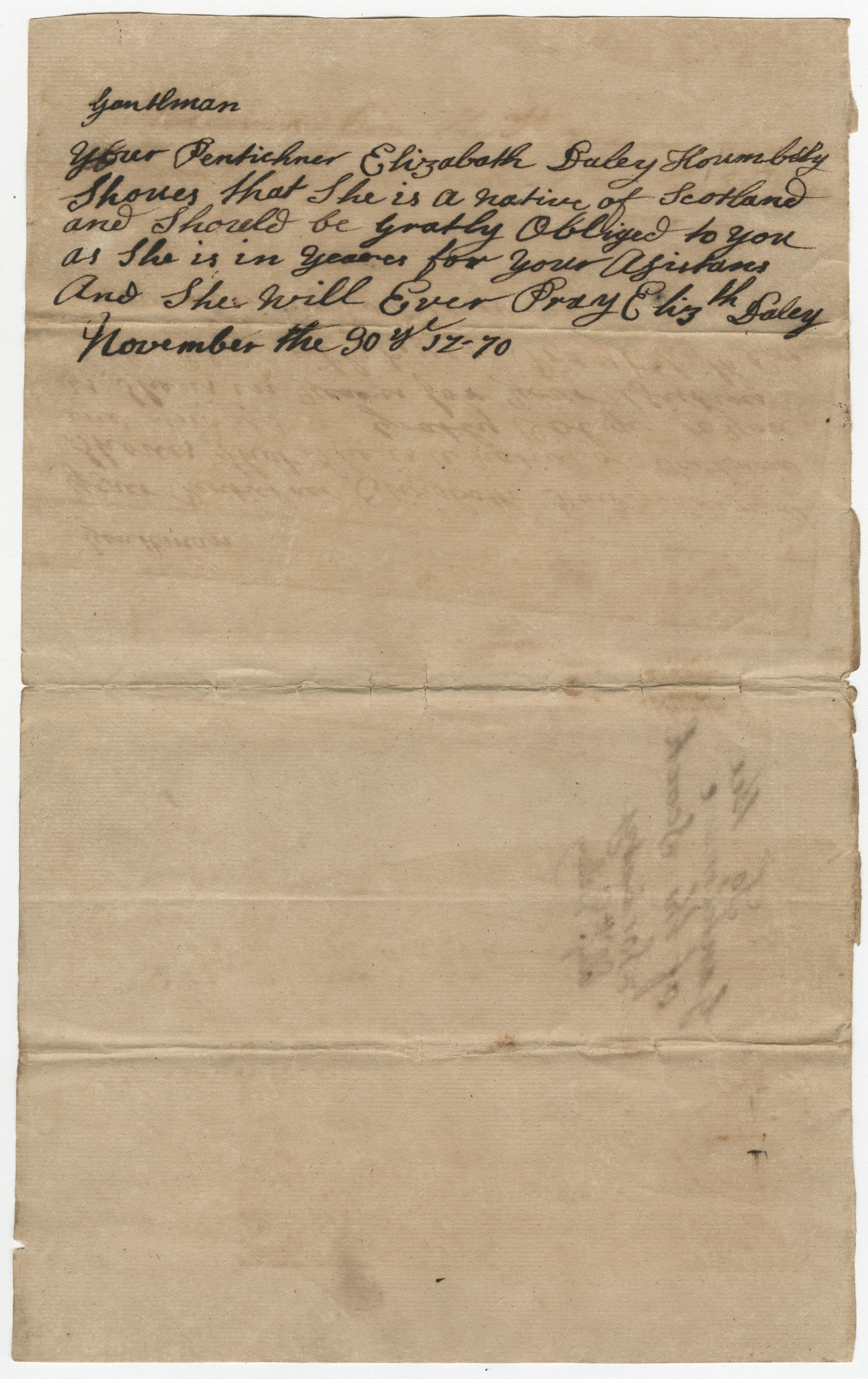 Petition from Elizabeth Daley to the St. Andrew's Society