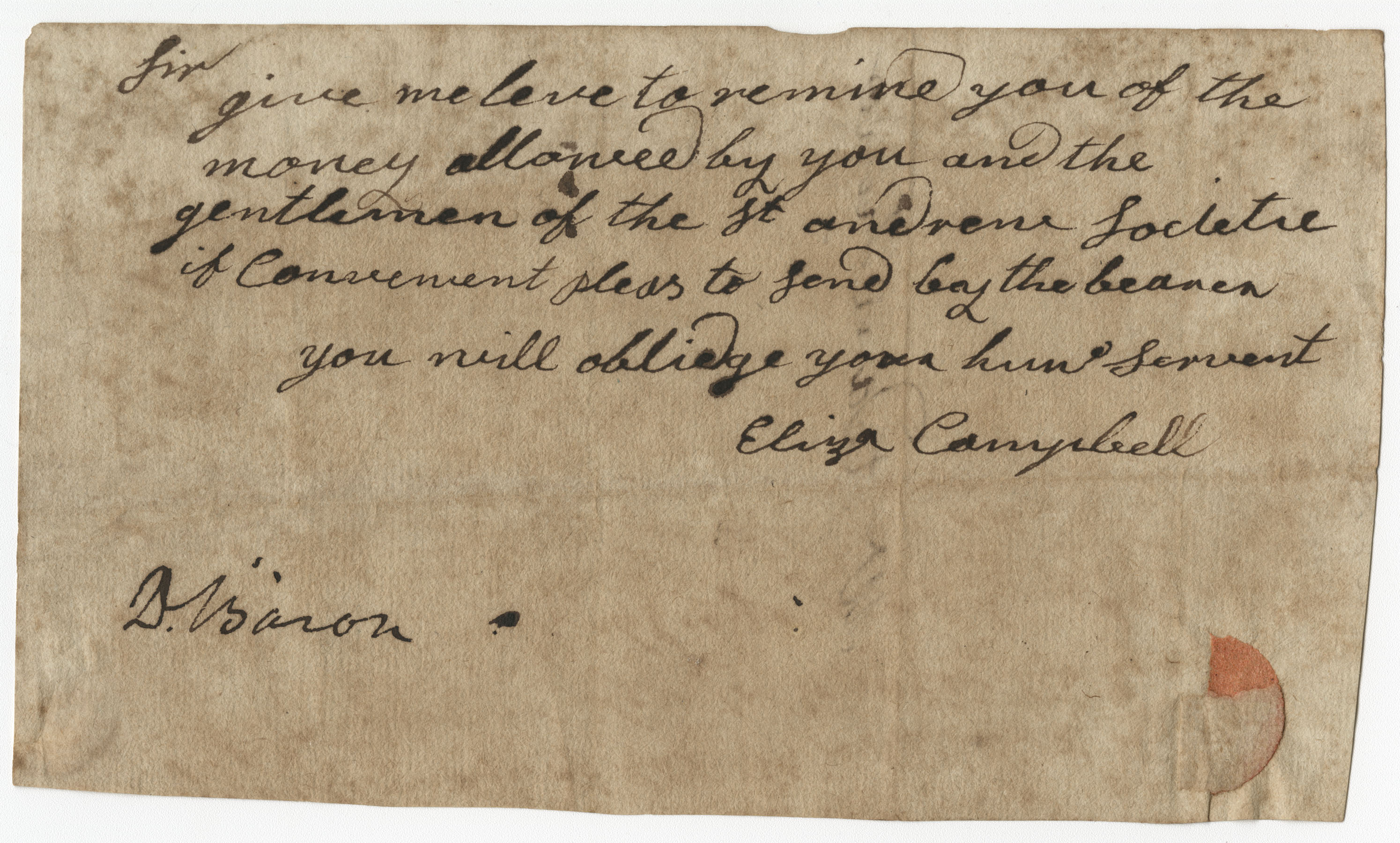 Petition from Eliza Campbell to the St. Andrew's Society