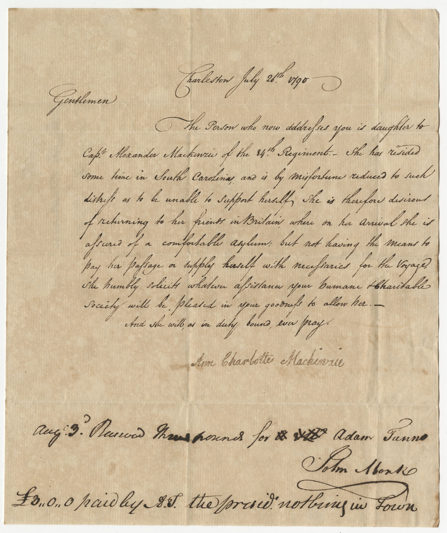 Petition from Ann Charlotte Mackinzie to the St. Andrew's Society
