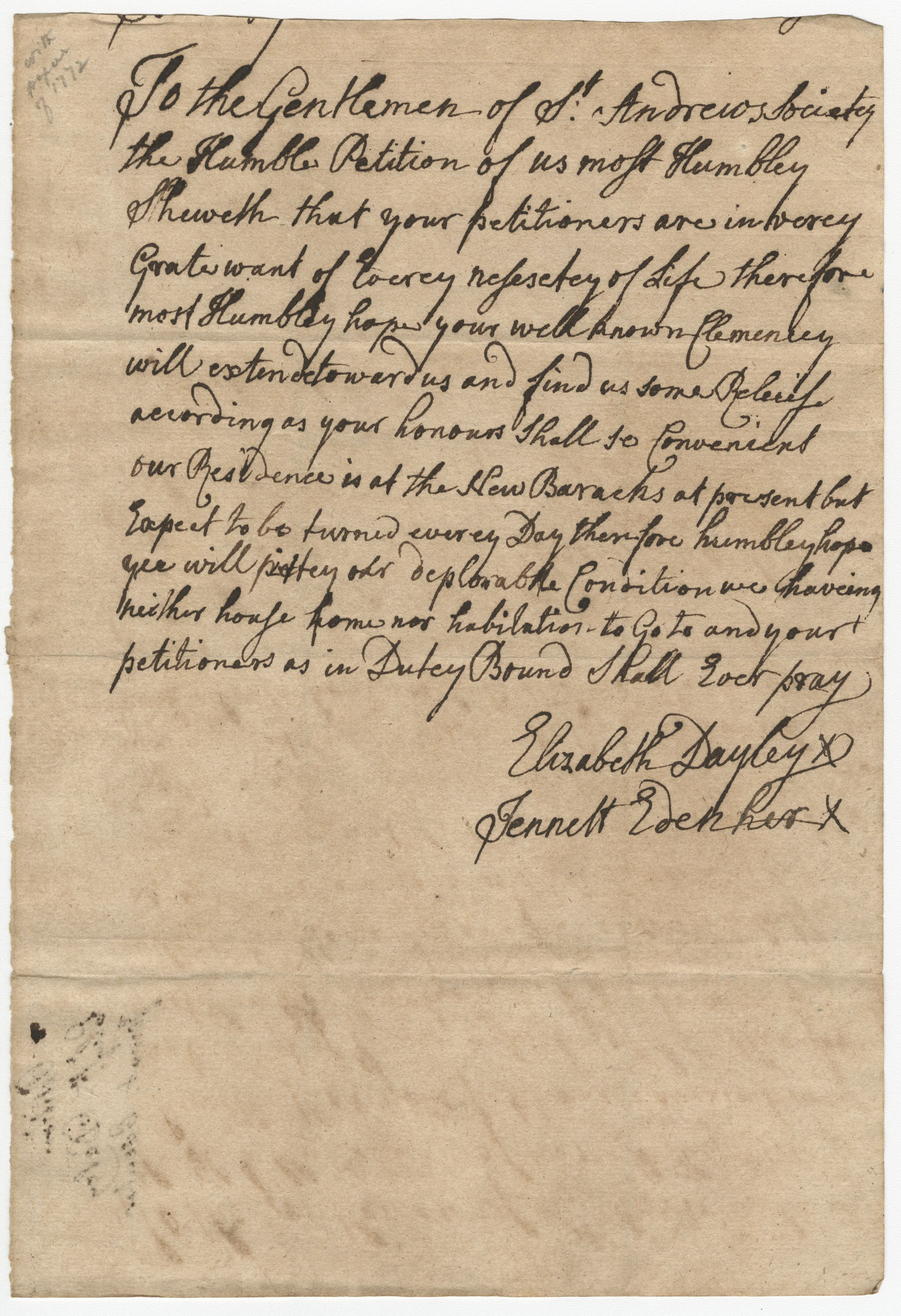 Petition from Elisabeth Dayley and Jennett Edenher to the St. Andrew's Society