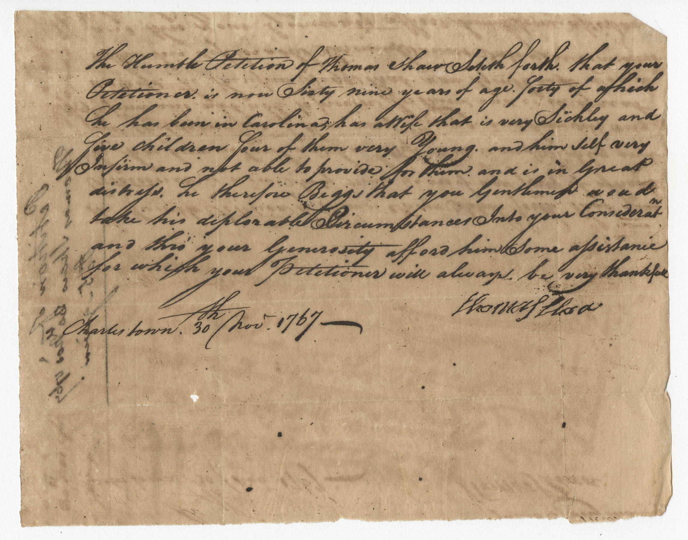 Petition from Thomas Shaw to the St. Andrew's Society
