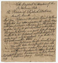 Petition from Elisabeth Wallace to the St. Andrew's Society